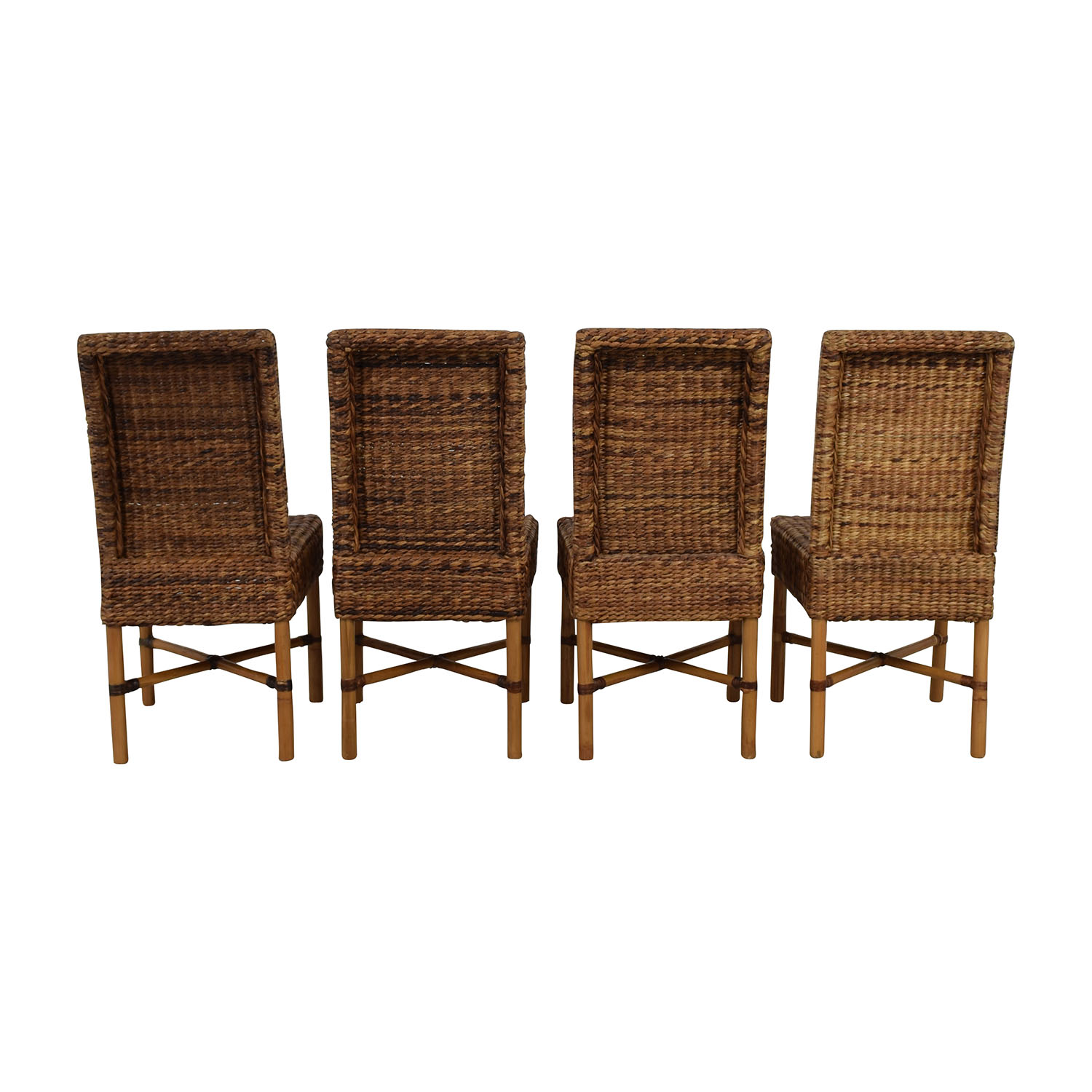 Wicker Brown Dining Chairs Brown/ Beige