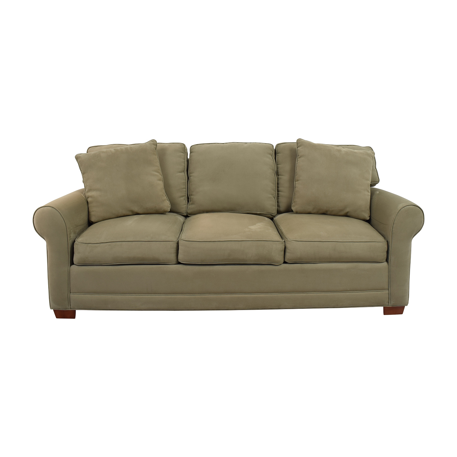 Raymour & Flanigan Beige Three-Cushion Couch sale