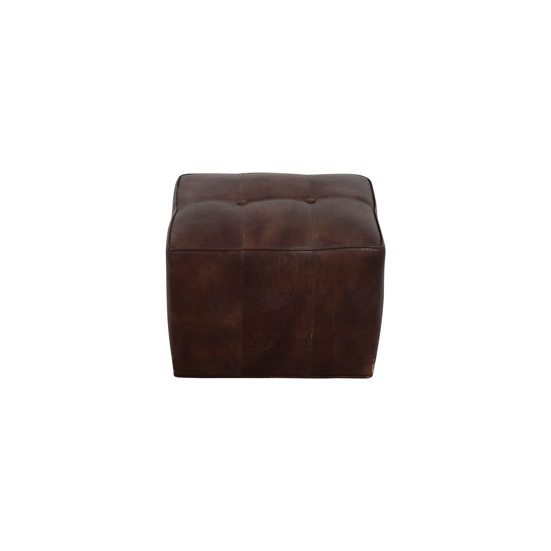 buy Room & Board Brown Leather Tufted Cube Room & Board Ottomans