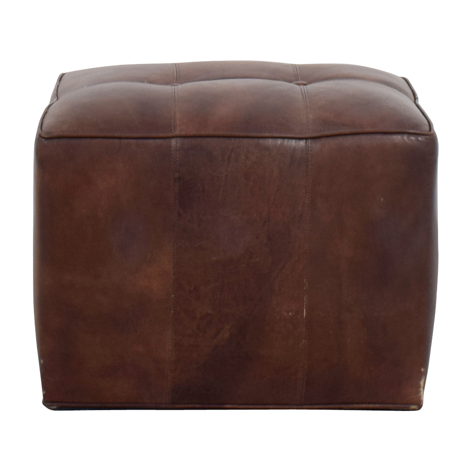 Room & Board Brown Leather Tufted Cube / Ottomans