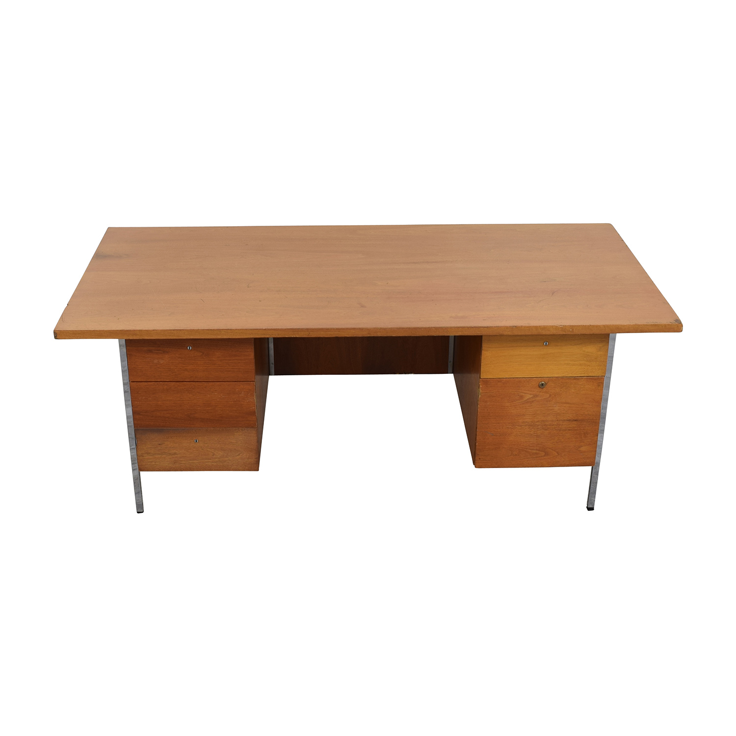 shop Wood Office Five-Drawer Desk Tables