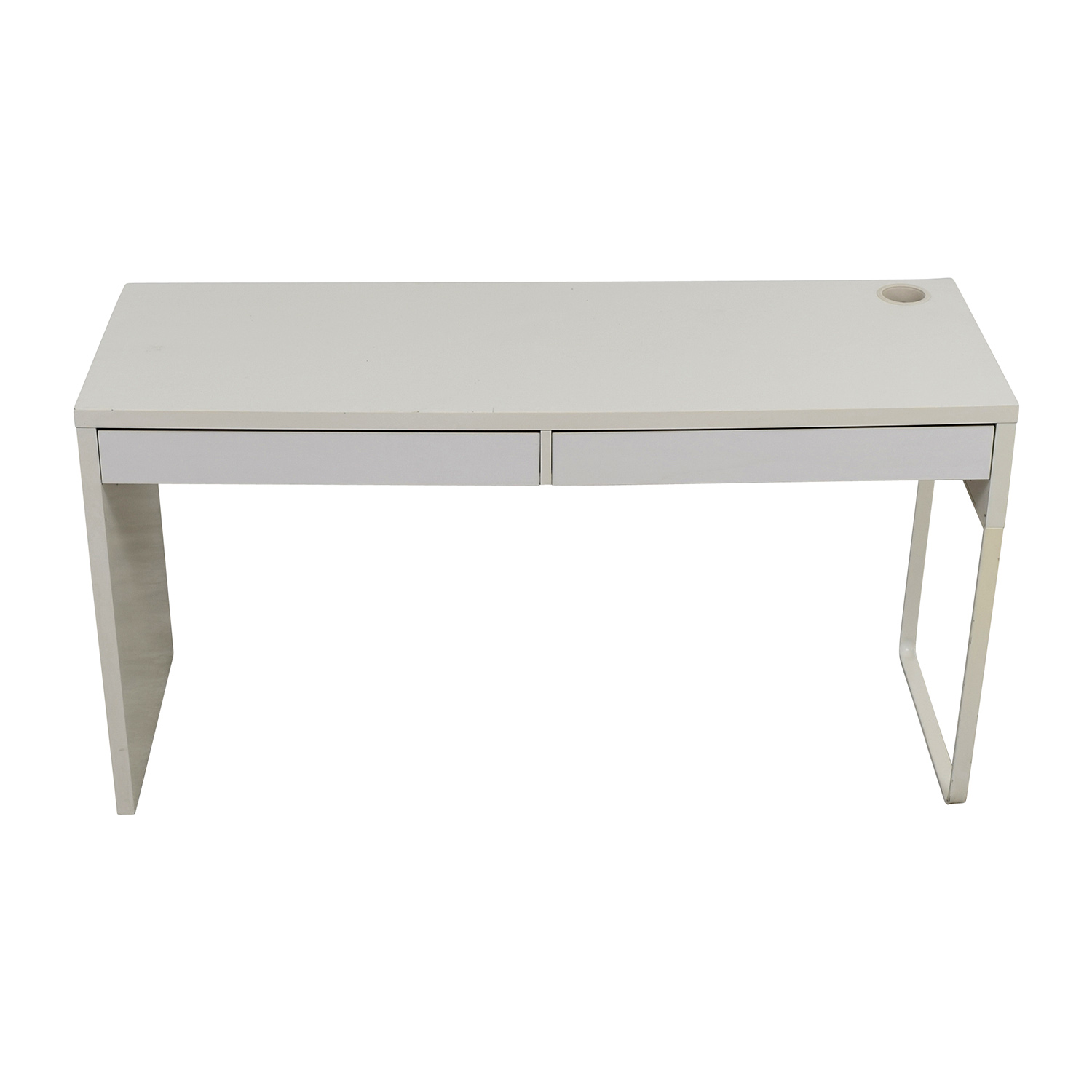 IKEA White Two-Drawer Office Desk used