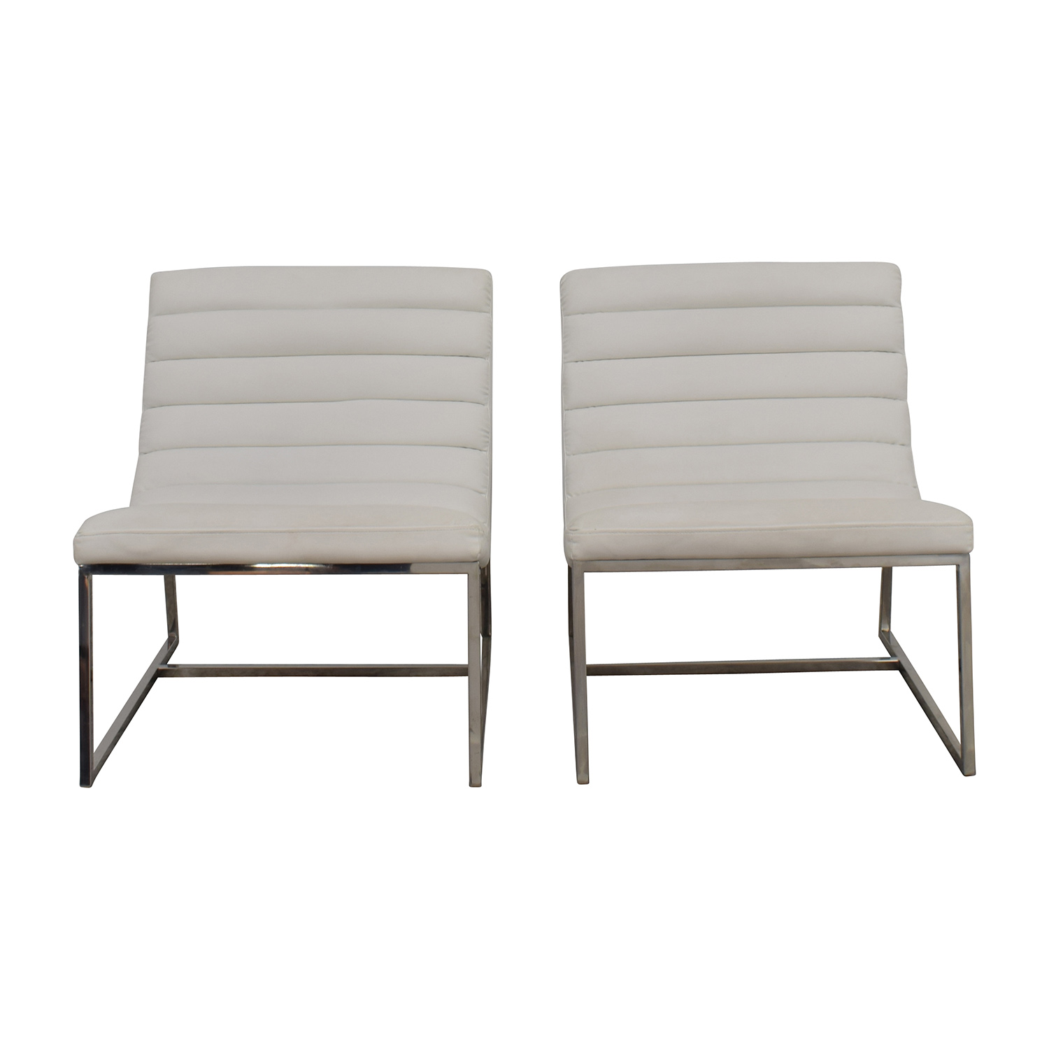 43% OFF White Leather Sofa Chairs Chairs