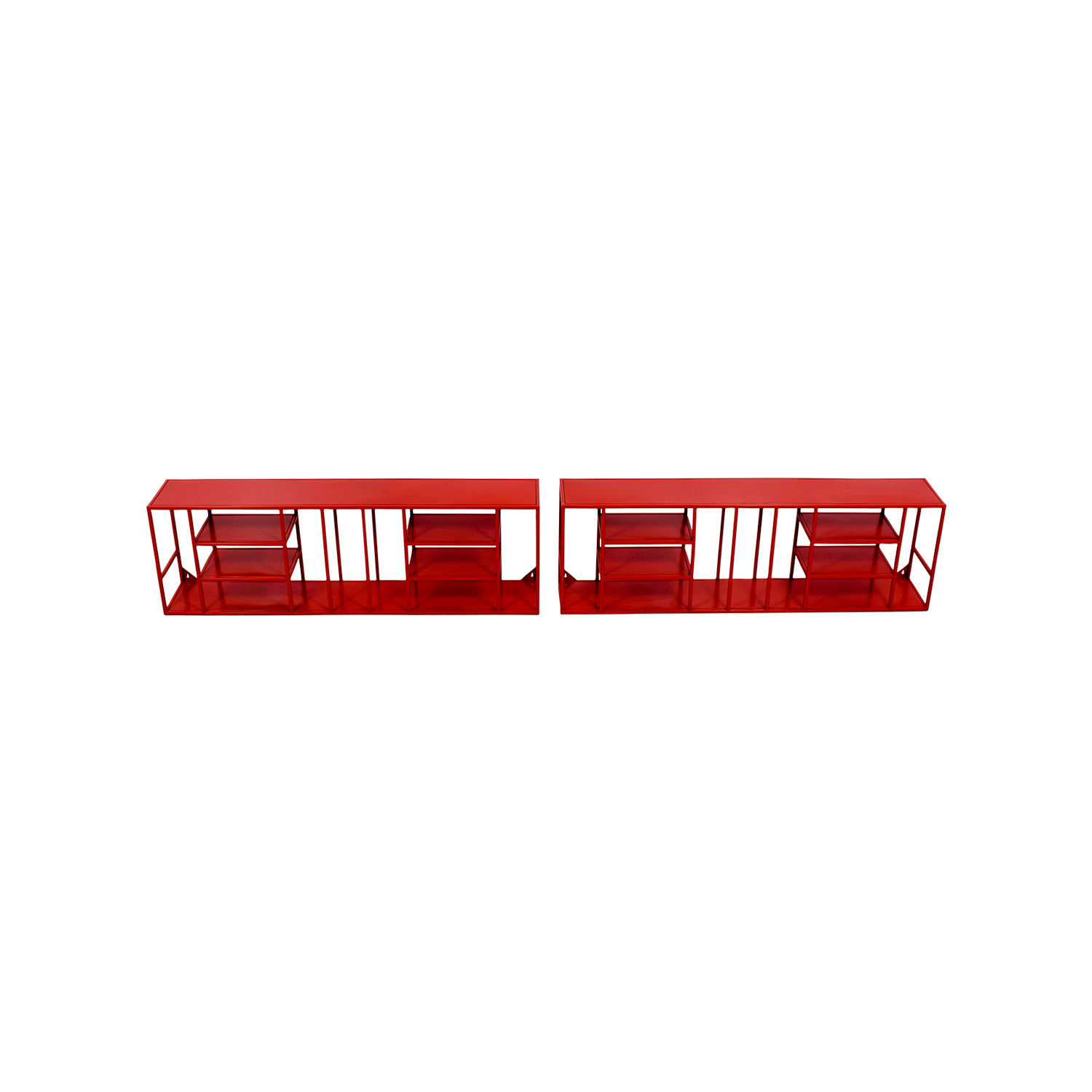 CB2 Red Metal Bookshelves / Storage