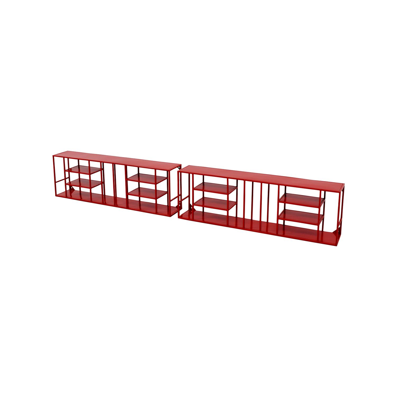 Marvelous 56 Off Cb2 Cb2 Red Metal Bookshelves Storage Interior Design Ideas Clesiryabchikinfo