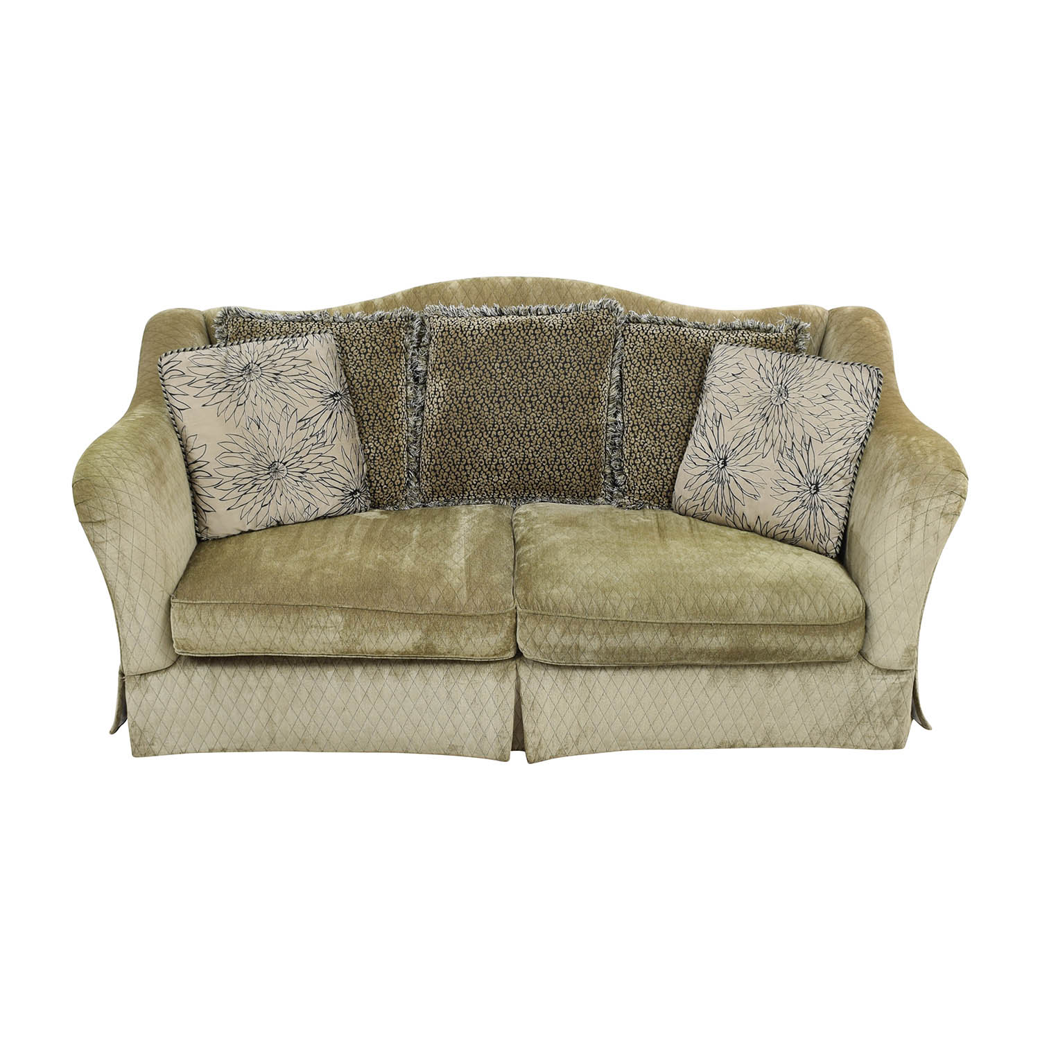 buy Raymour & Flanigan Green Quilted Two-Cushion Sofa Raymour and Flanigan