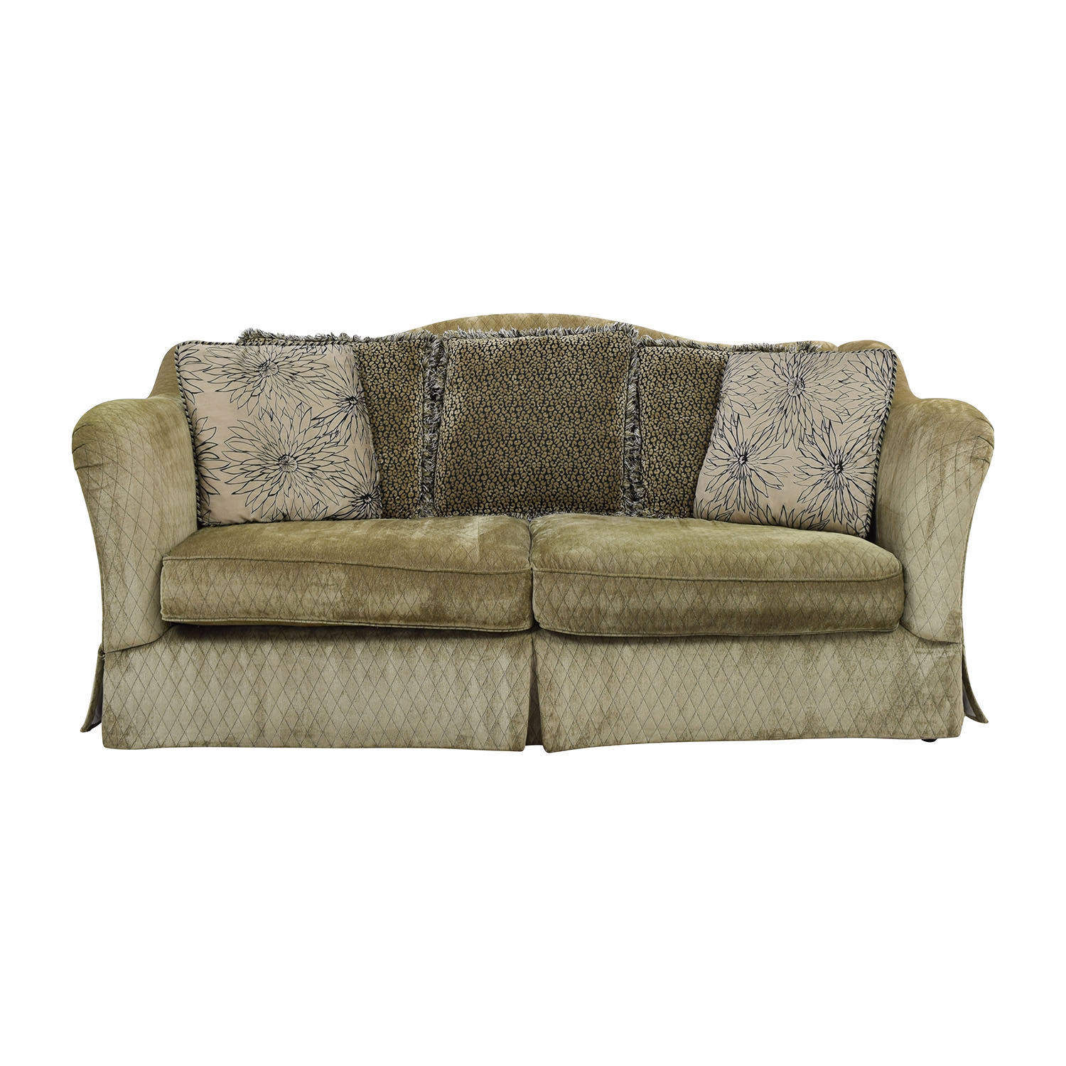 Raymour & Flanigan Green Quilted Two-Cushion Sofa / Classic Sofas