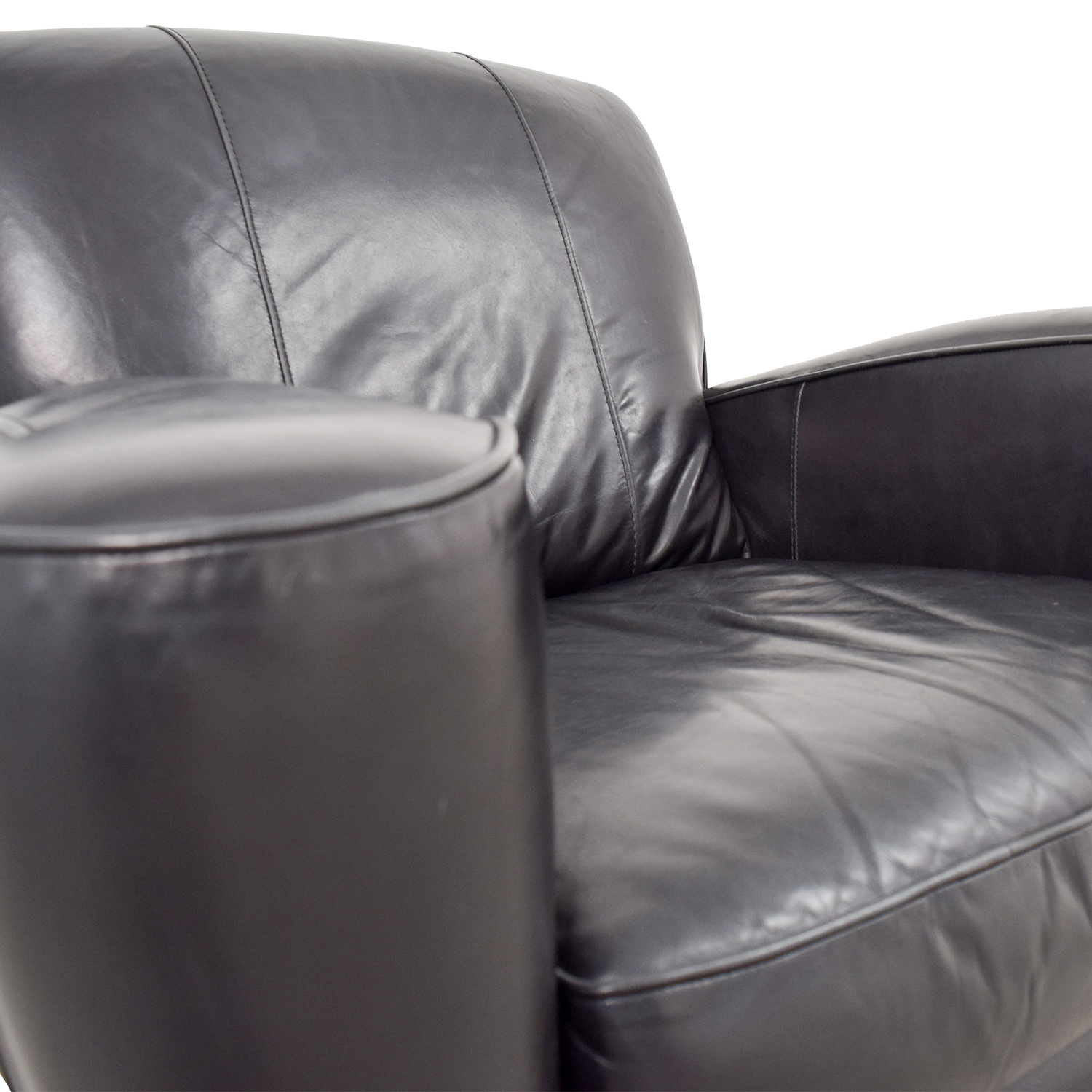 Leather Library Reading Chair Black