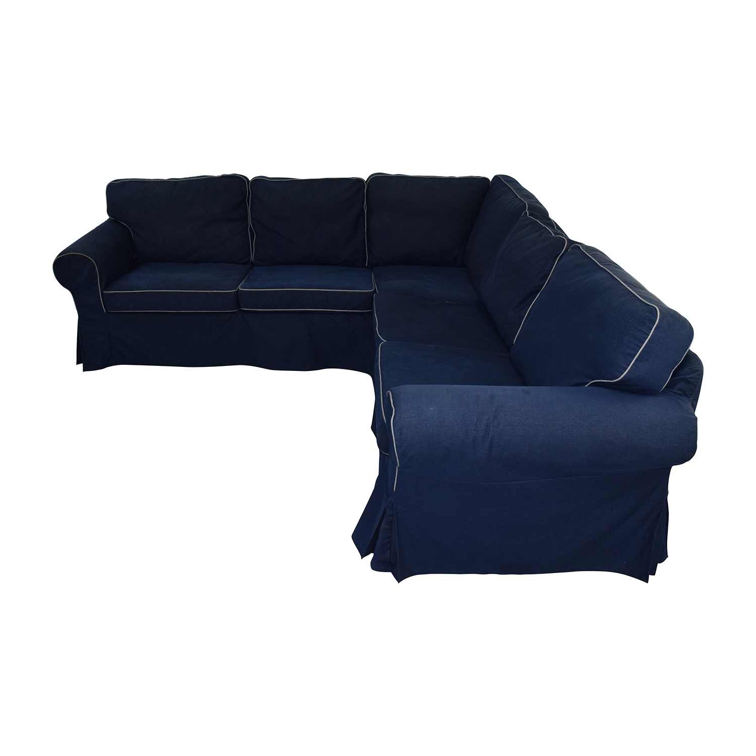 Picture of: 43 Off Ikea Ikea Ektorp Navy Blue Skirted Sectional Sofas