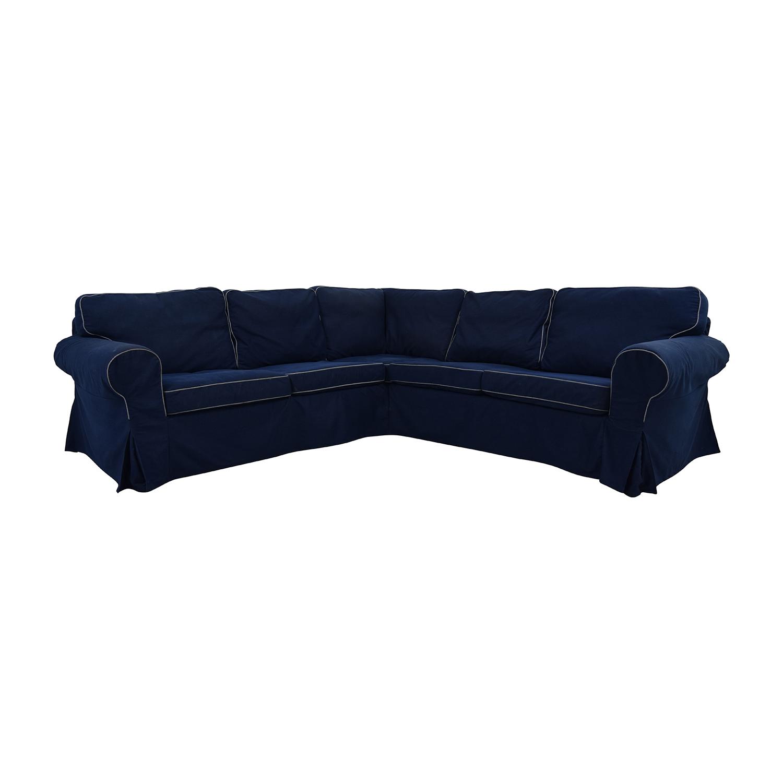 43 Off Ikea Ikea Ektorp Navy Blue Skirted Sectional Sofas