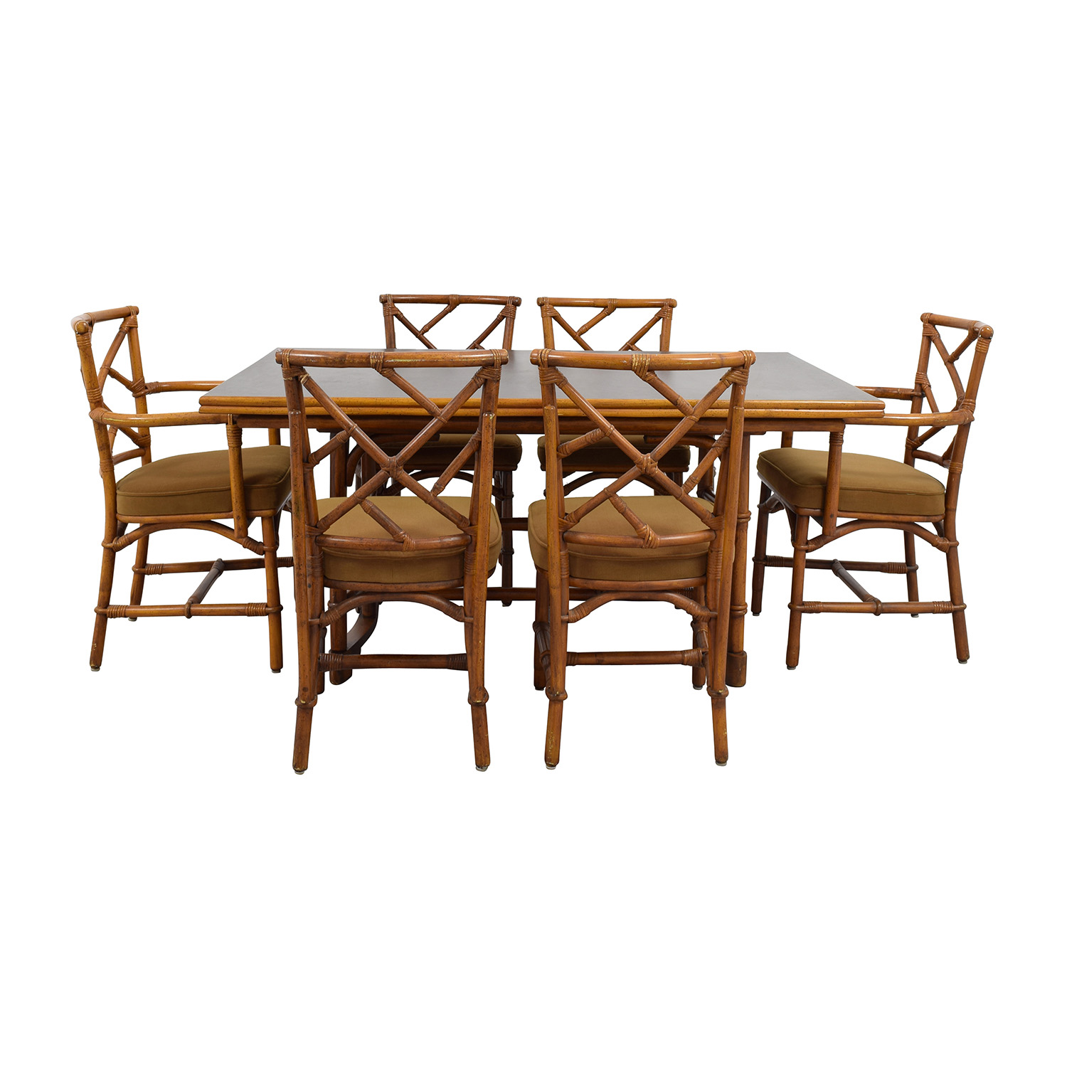64 off bamboo dining set with six chairs tables for Six chair dining table set