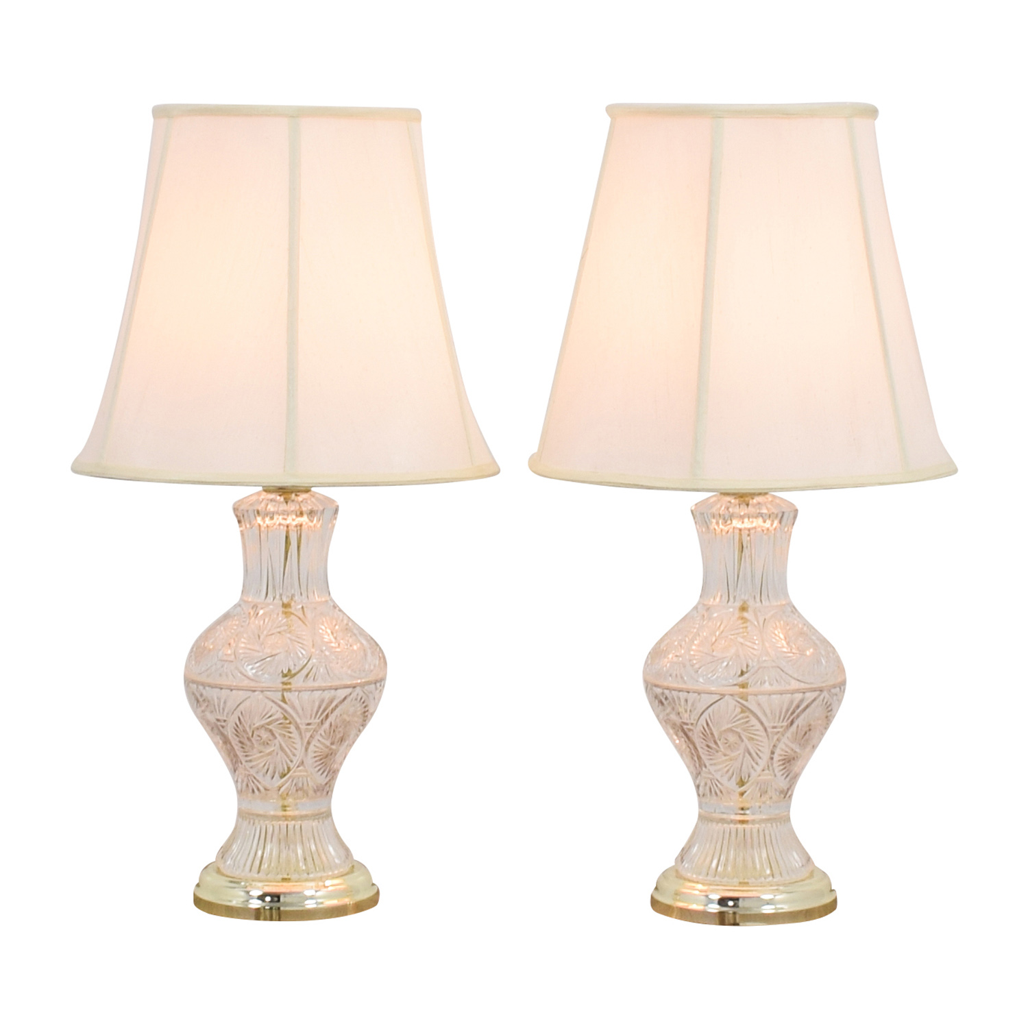 Cut Glass Lamps with Glass Base for sale