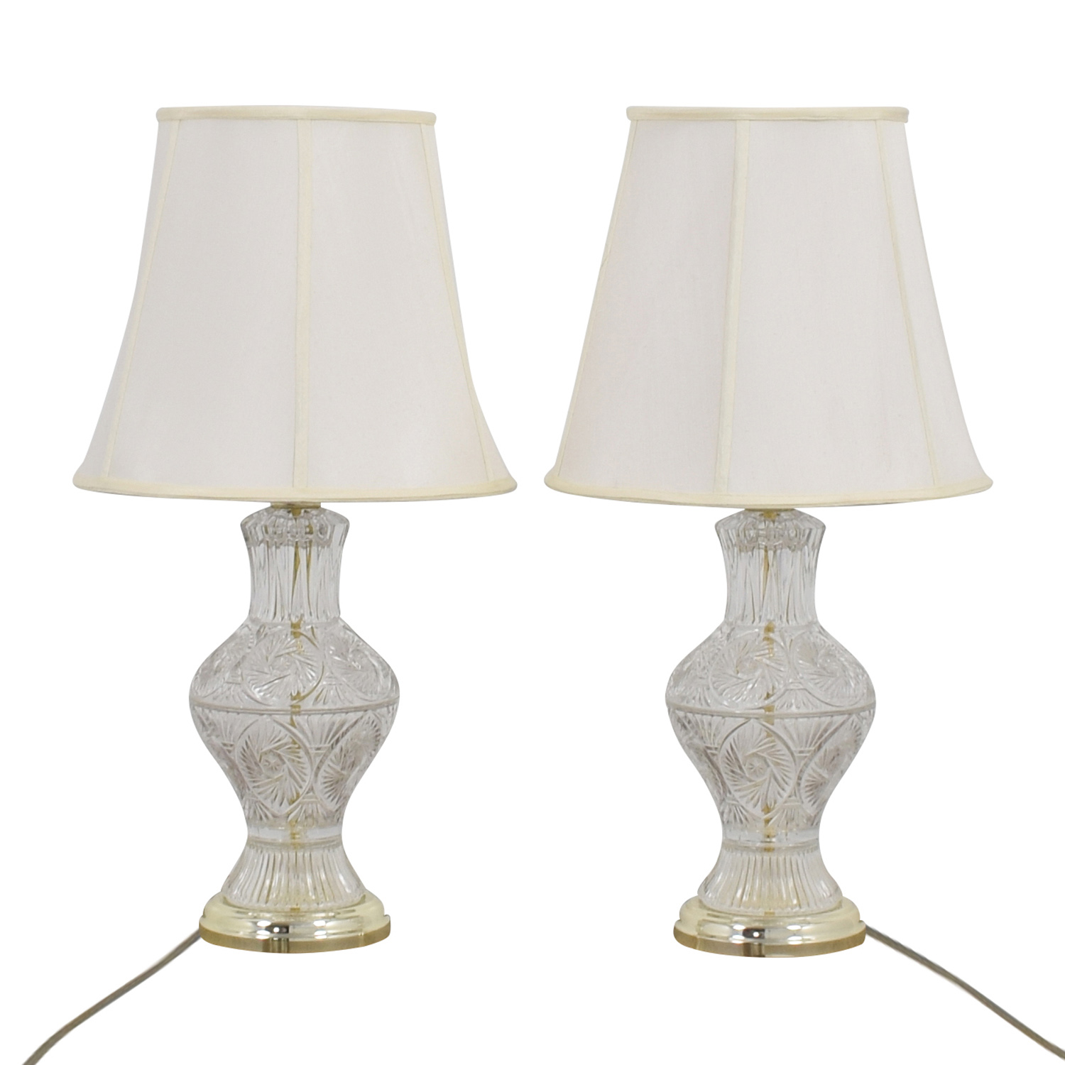 78 Off Cut Glass Lamps With Glass Base Decor