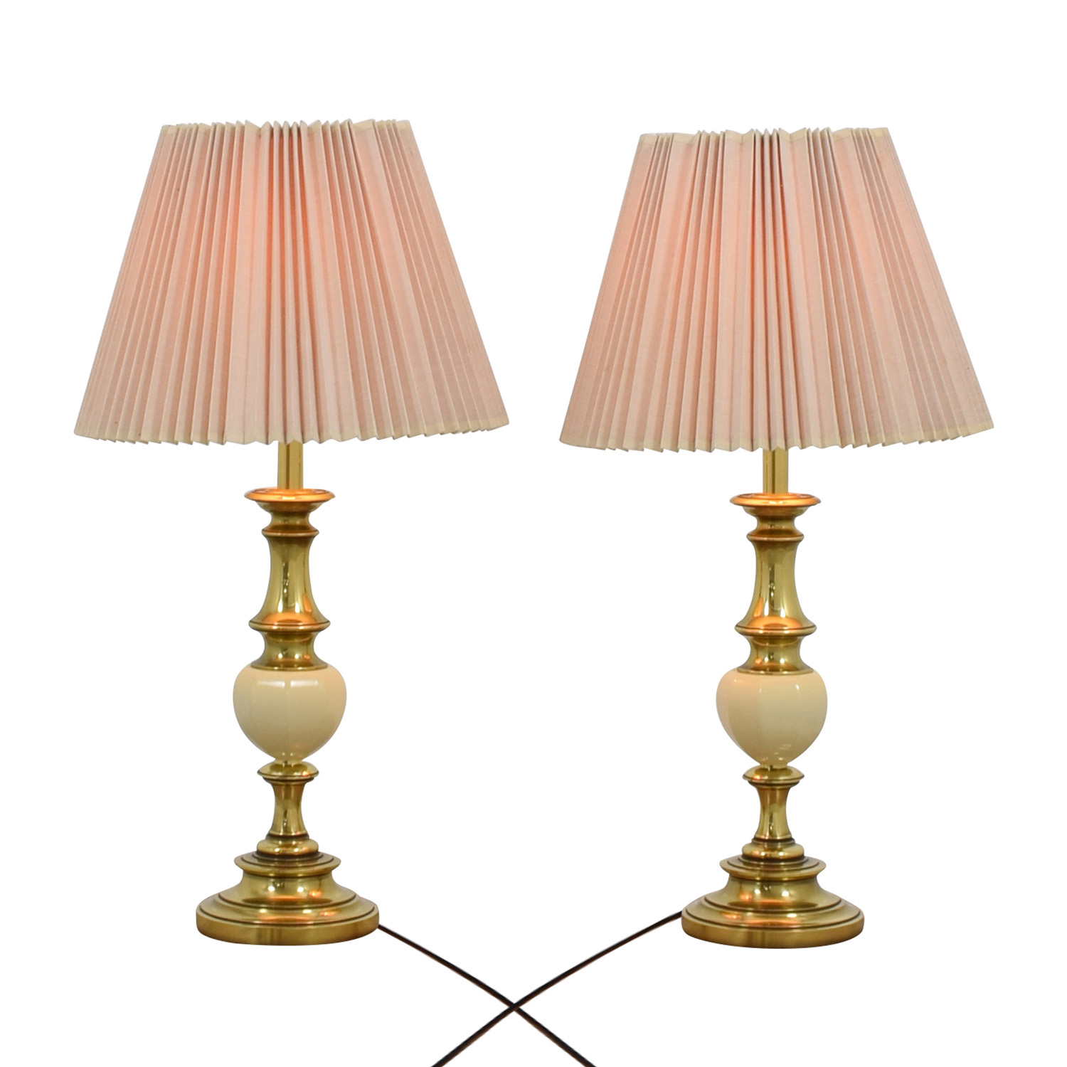 buy Brass and White Urn Table Lamps with Accordion Shades