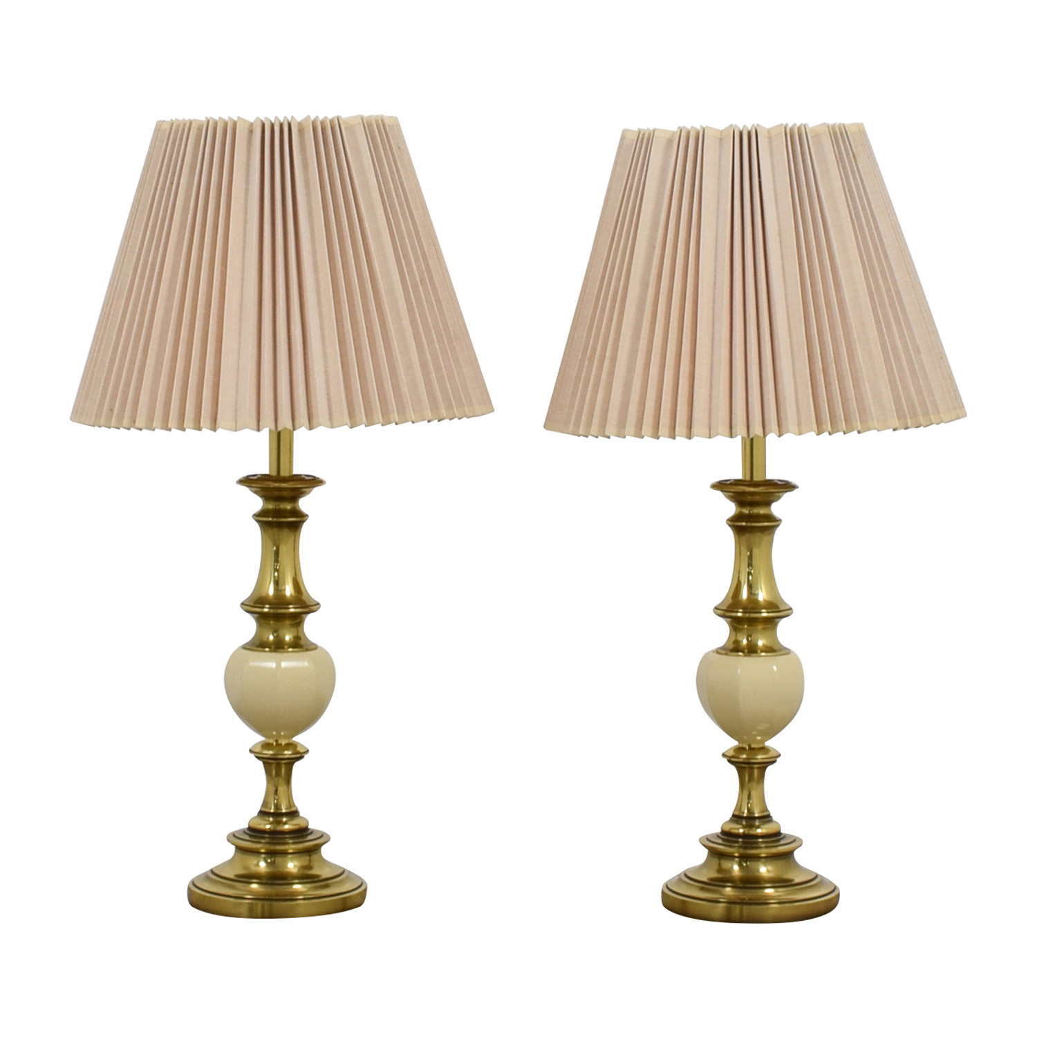 shop Brass and White Urn Table Lamps with Accordion Shades