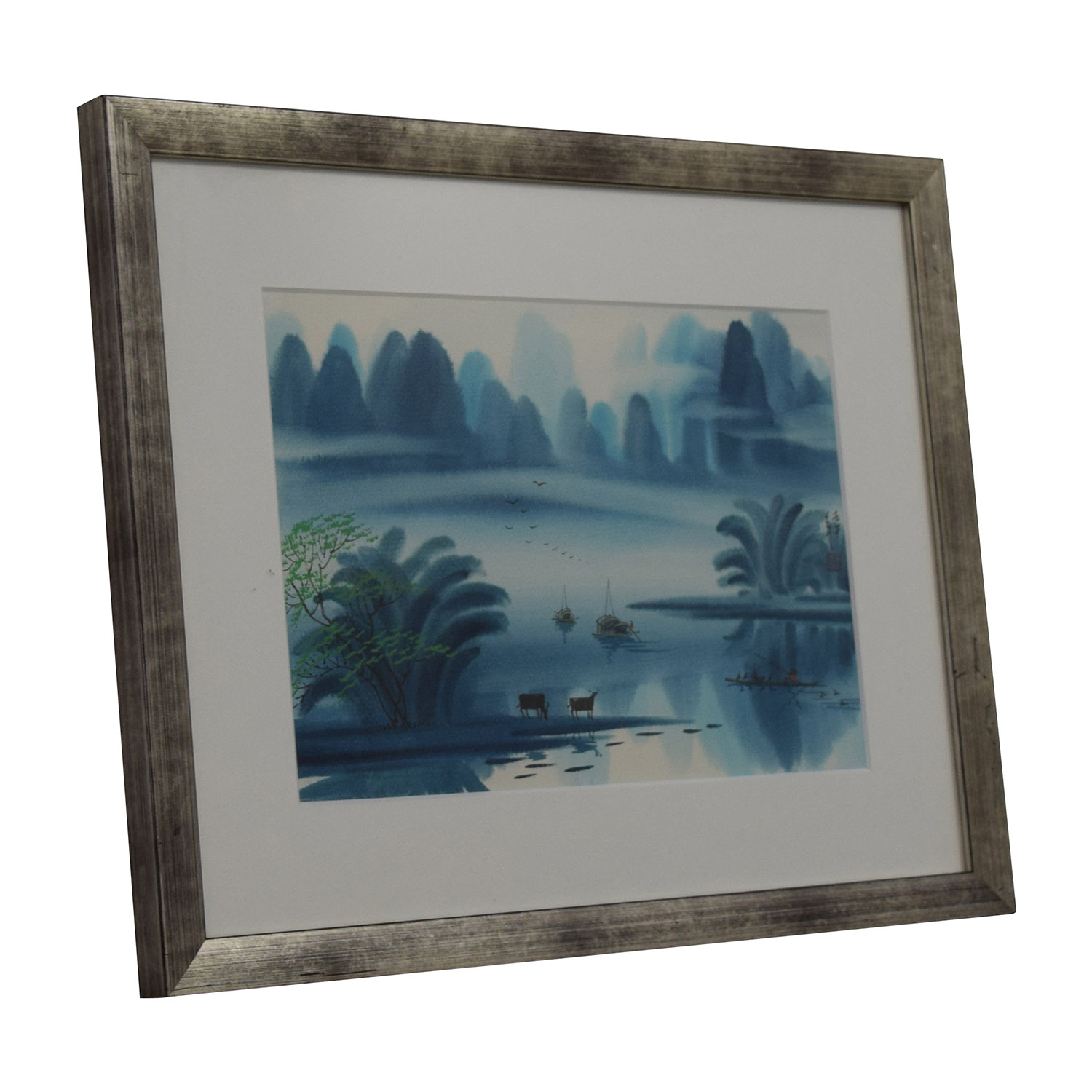 buy Original Chinese Watercolor Landscape Blue Days with Cows Wall Art