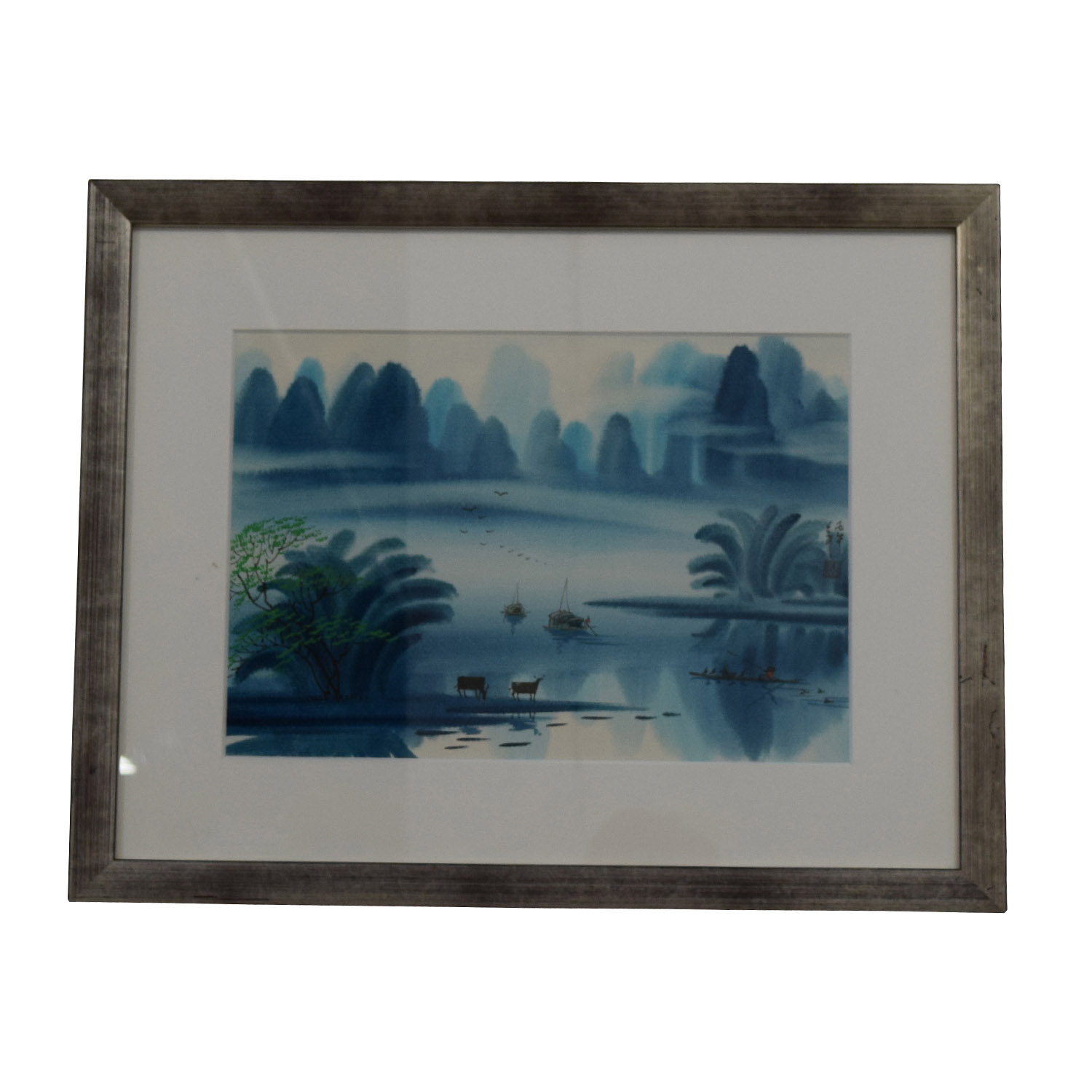 Original Chinese Watercolor Landscape Blue Days with Cows on sale