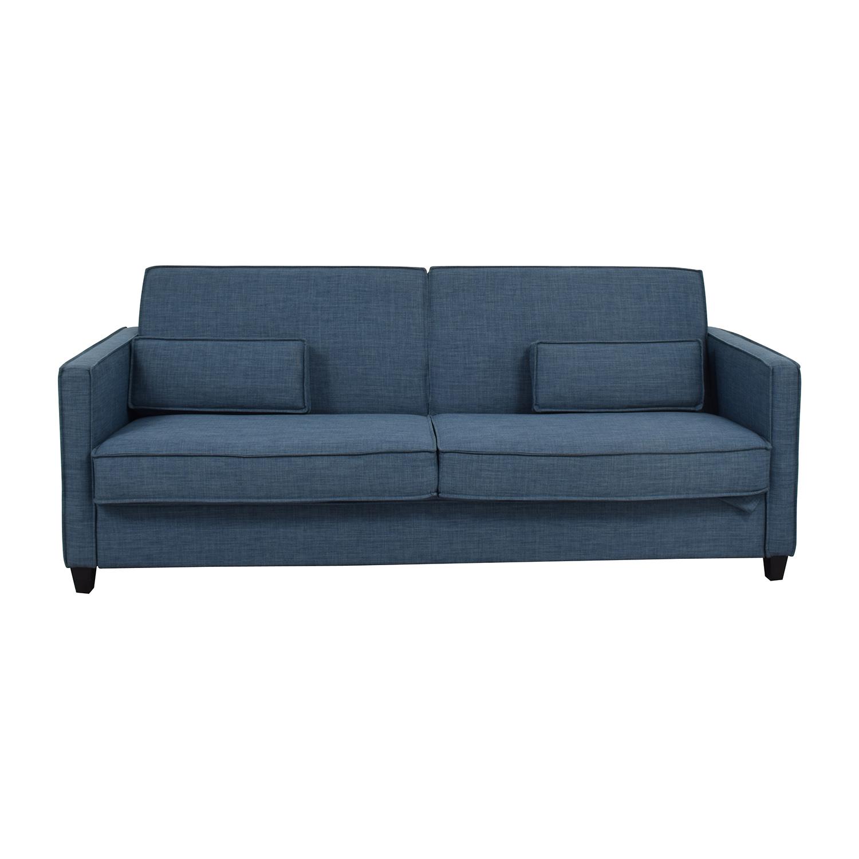 Blue Sofa with Two Throw Lumbar Pillows price