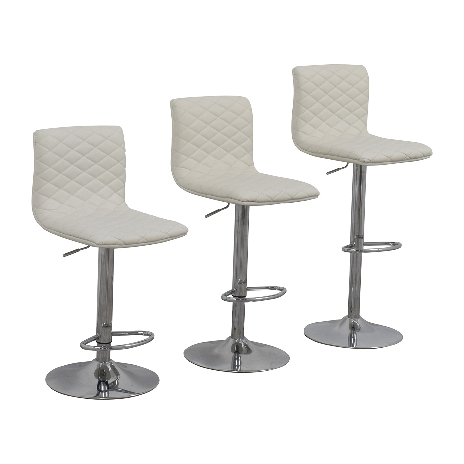 45 Off White Quilted Bar Stool Chairs Chairs