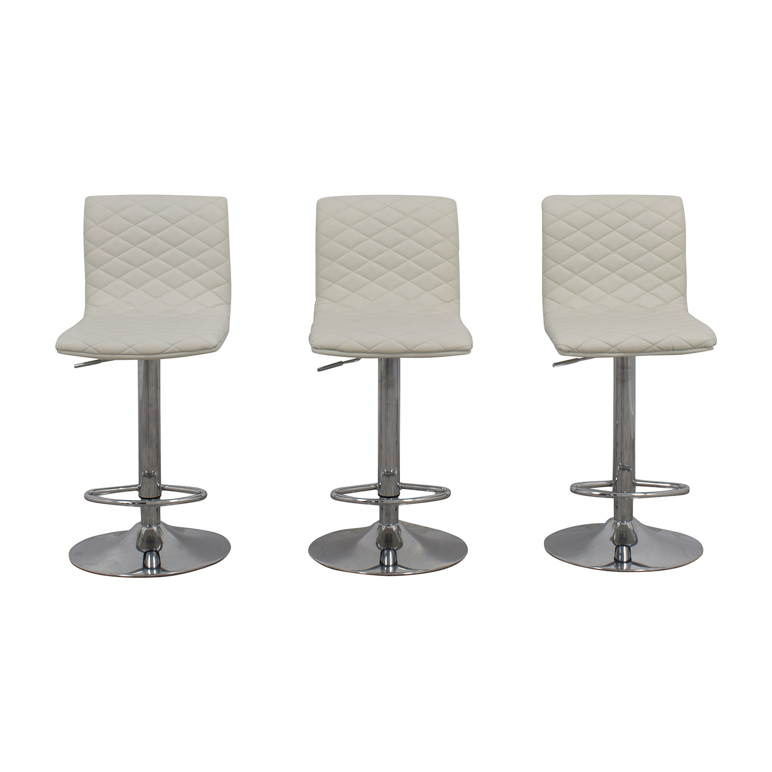 White Quilted Bar Stool Chairs Stools