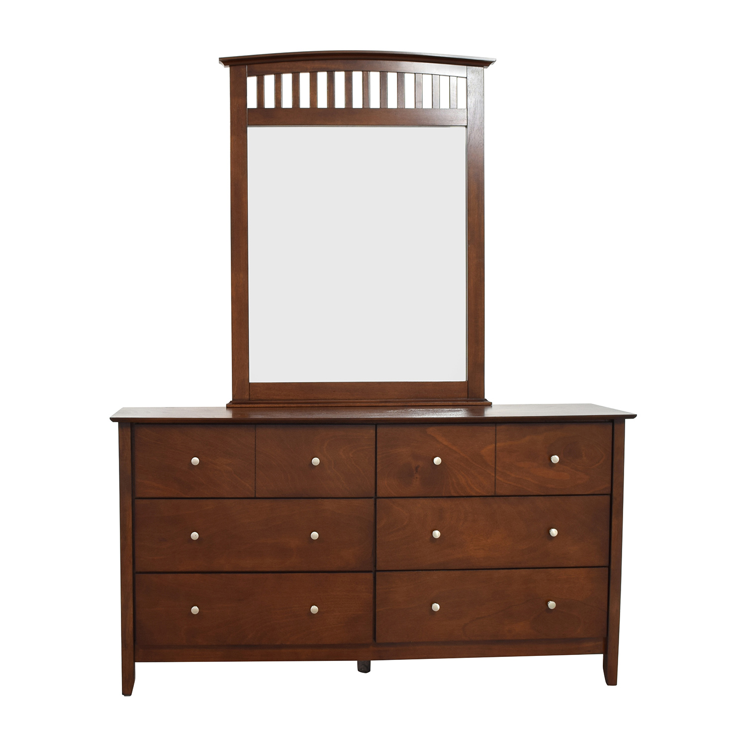 Bob's Furniture Eight-Drawer Dresser and Mirror sale