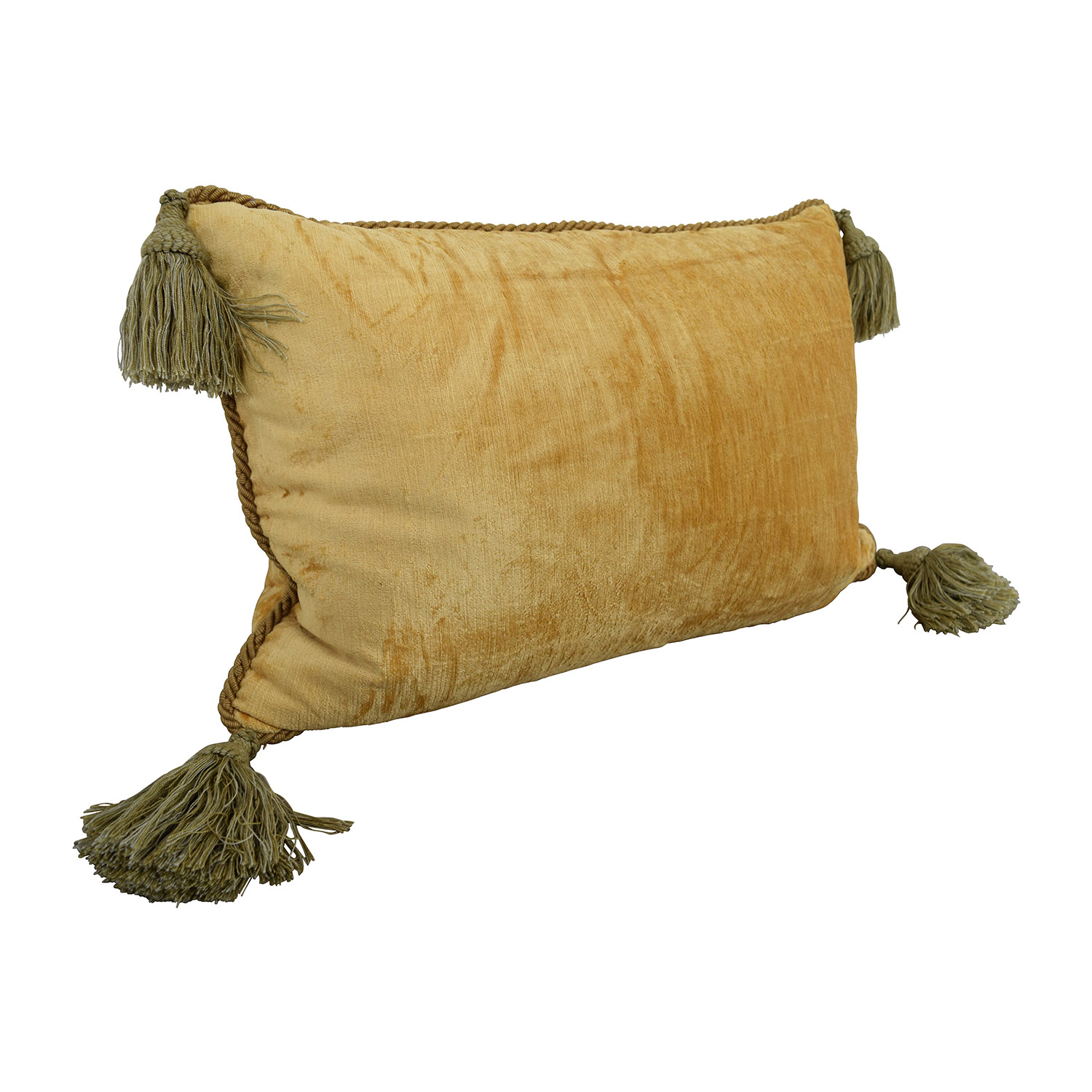 buy Custom Gold with Green Corner Tassle Toss Pillow
