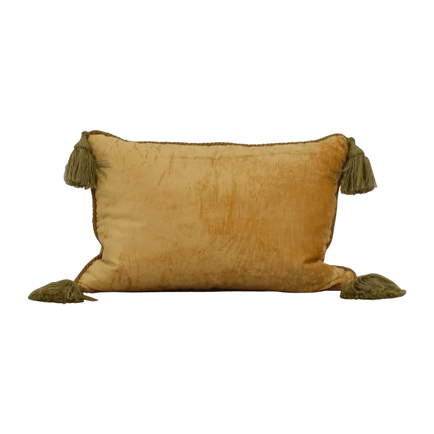 Custom Gold with Green Corner Tassle Toss Pillow Decor
