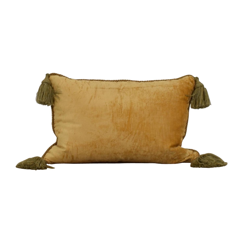 shop Custom Gold with Green Corner Tassle Toss Pillow