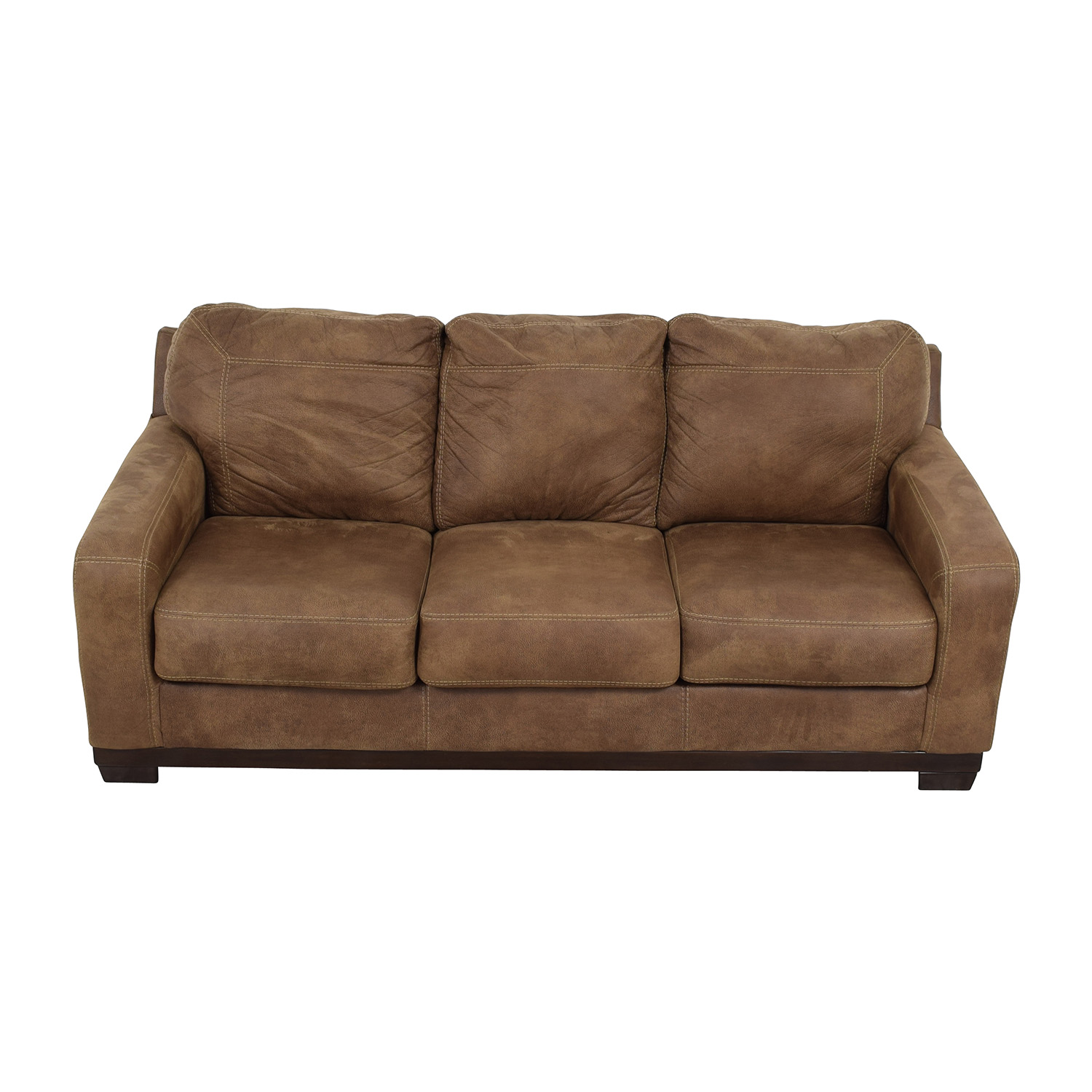 shop Ashley Furniture Kylun Brown Three-Cushion Couch Ashley Furniture Sofas