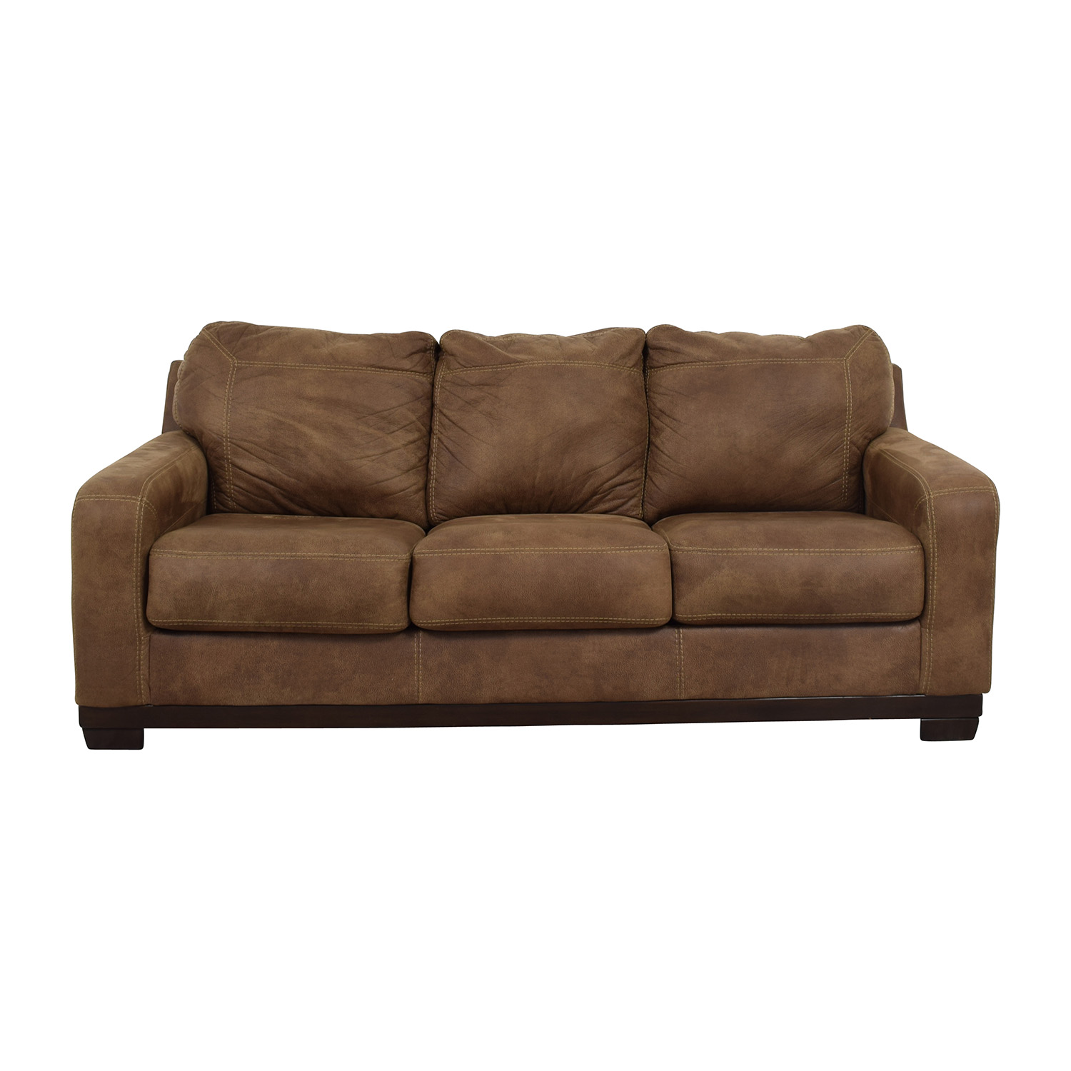 Loveseat Sofa Bed Ashley Furniture: Beige With Red Stripe Three-Cushion Slipcover