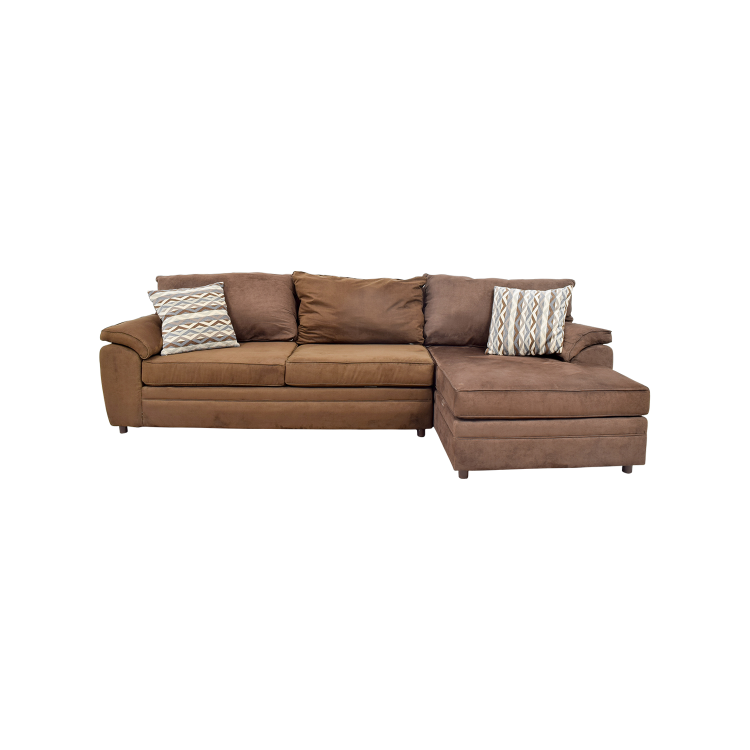 46% OFF - Bob\'s Discount Furniture Bob\'s Furniture Brown Chaise Sectional /  Sofas