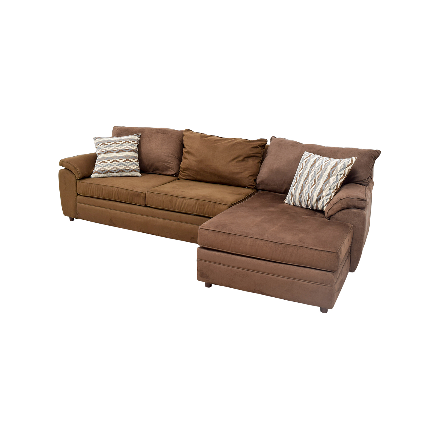 46 off bob 39 s furniture bob 39 s furniture brown chaise for Brown sectional with chaise