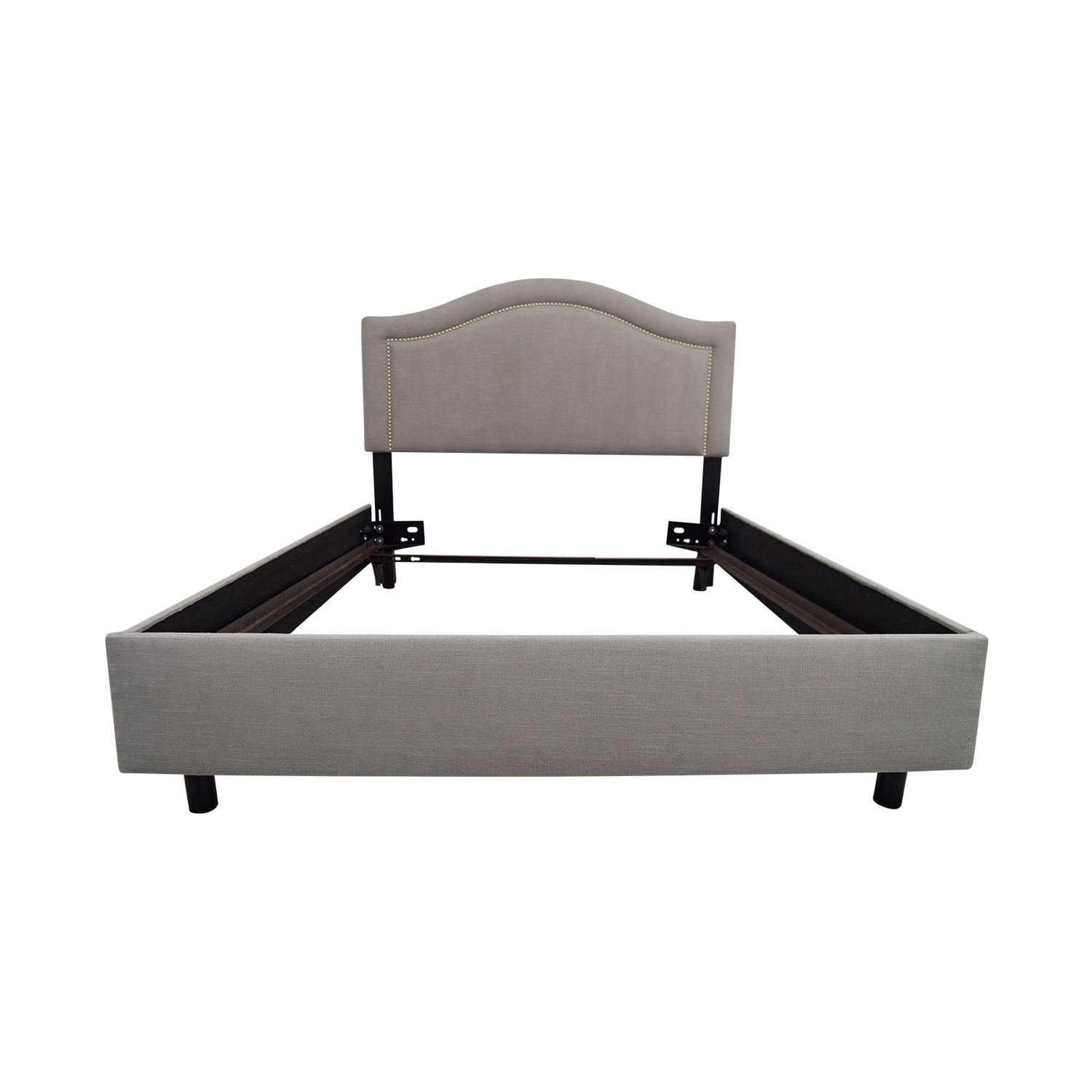 41 Off One Kings Lane Grey Fabric Full Size Bed Frame Beds
