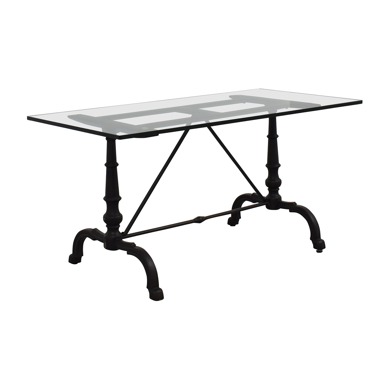 9cf5728e3a506 La Coupole Rectangular Iron Bistro Table With Marble Top - Photos ...