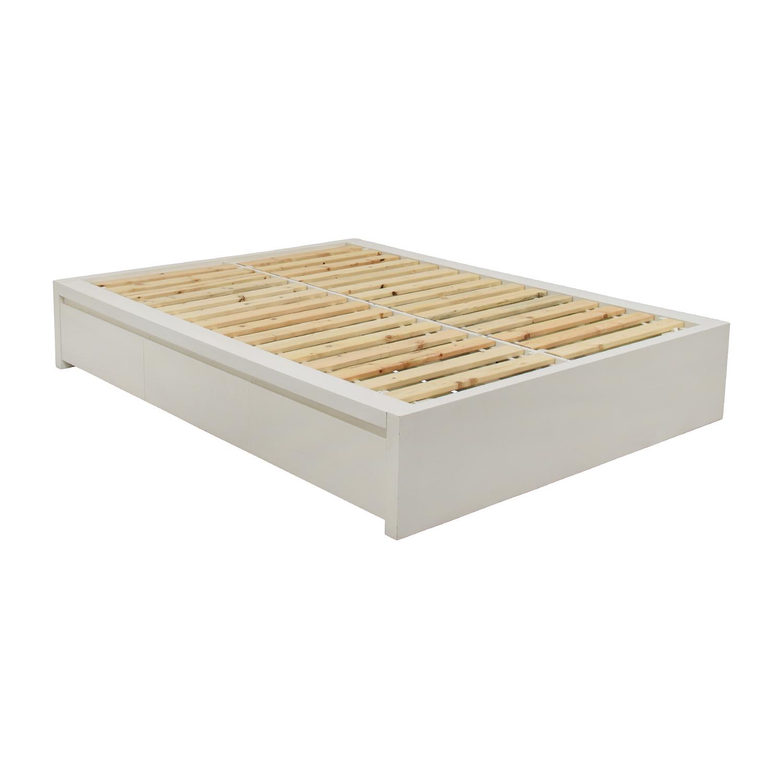 Shop West Elm White Storage Platform Queen Bed Frame Frames