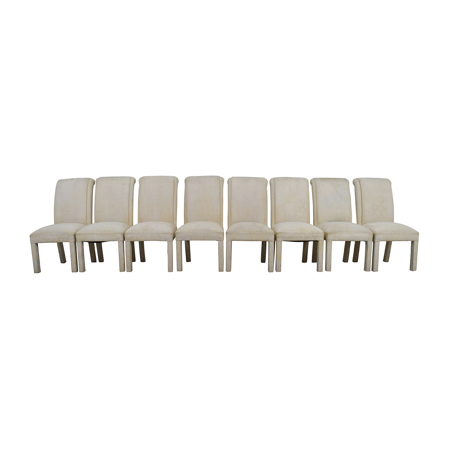 White Fabric Parsons Chairs / Dining Chairs