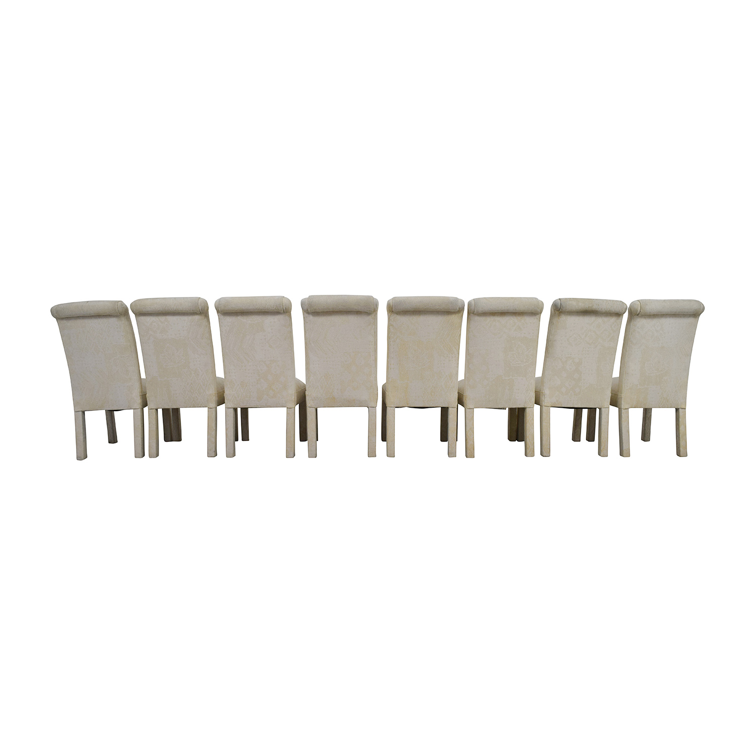 White Fabric Parsons Chairs for sale