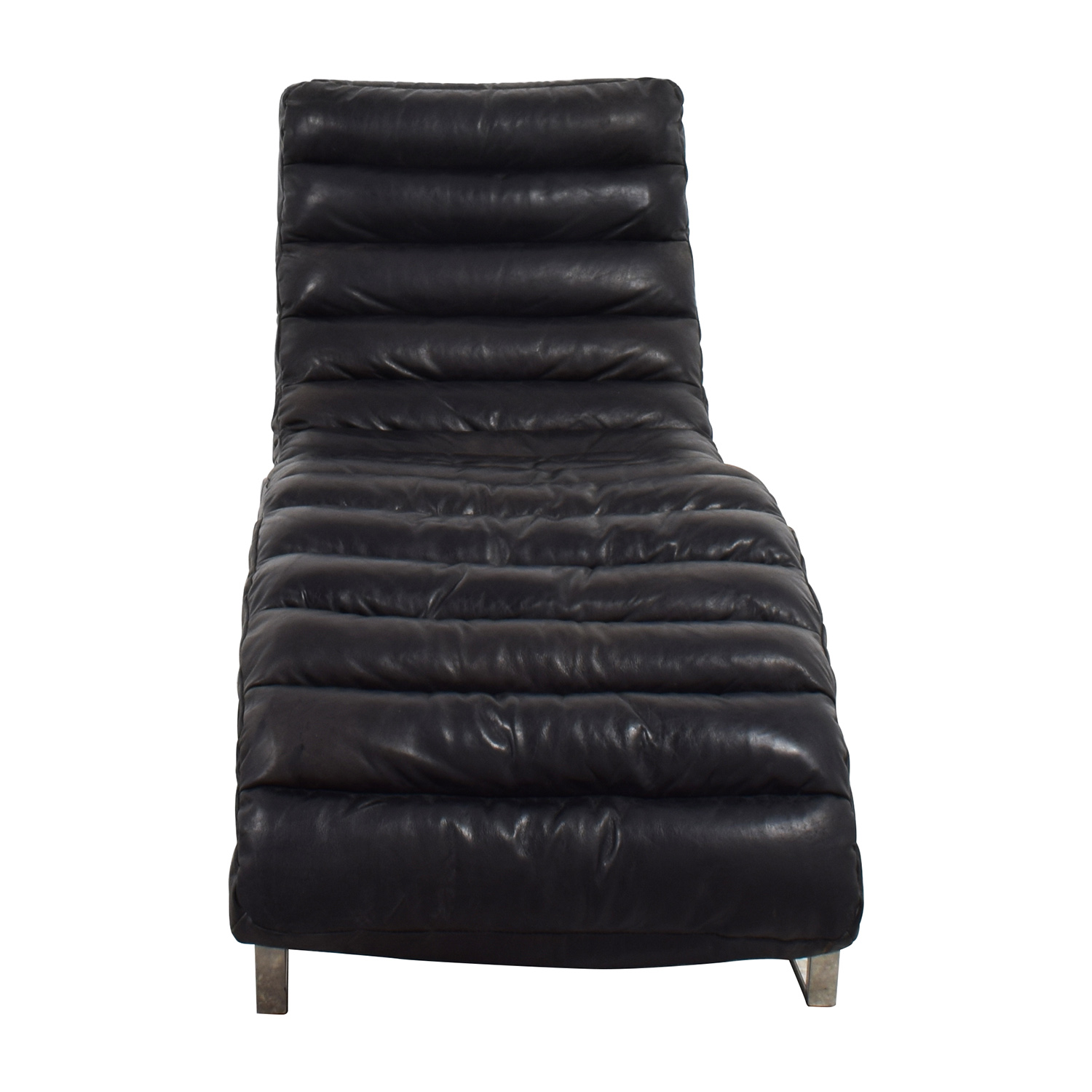 buy Restoration Hardware Oviedo Black Leather Chaise Restoration Hardware Chaises