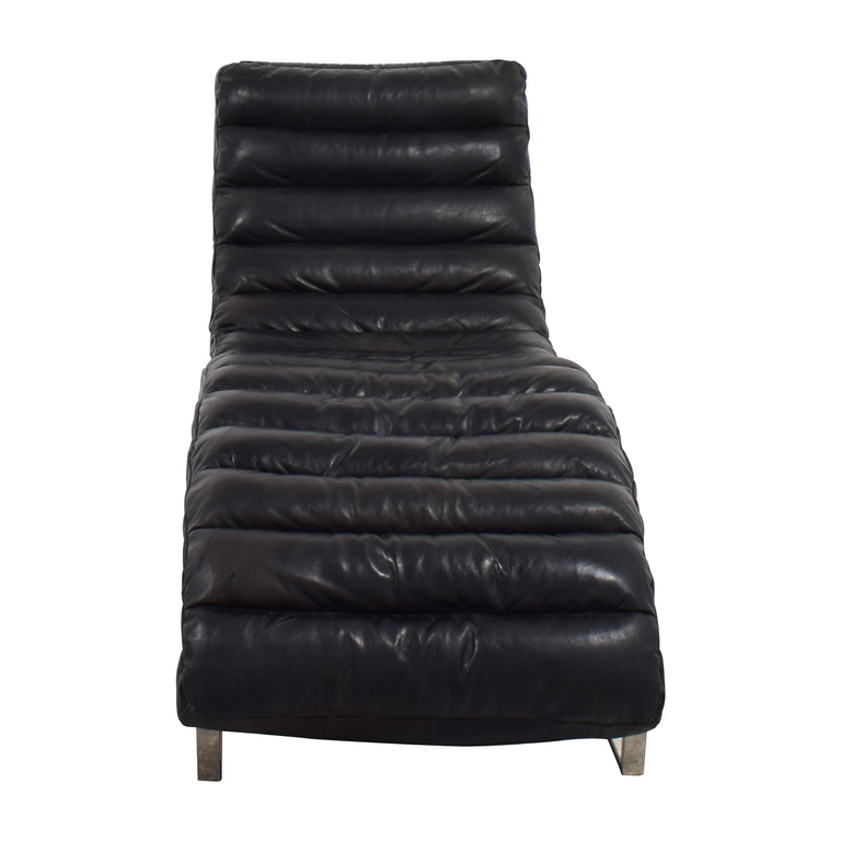 Restoration Hardware Restoration Hardware Oviedo Black Leather Chaise