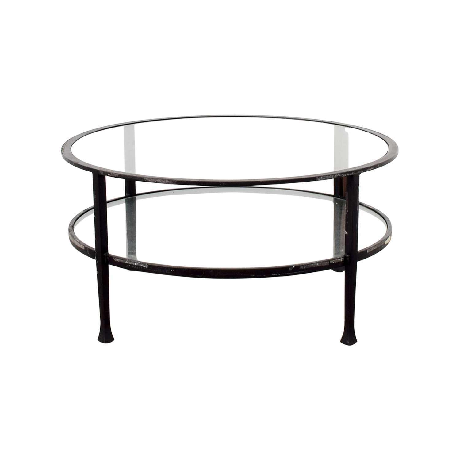 - 90% OFF - Pottery Barn Pottery Barn Round Glass Coffee Table / Tables