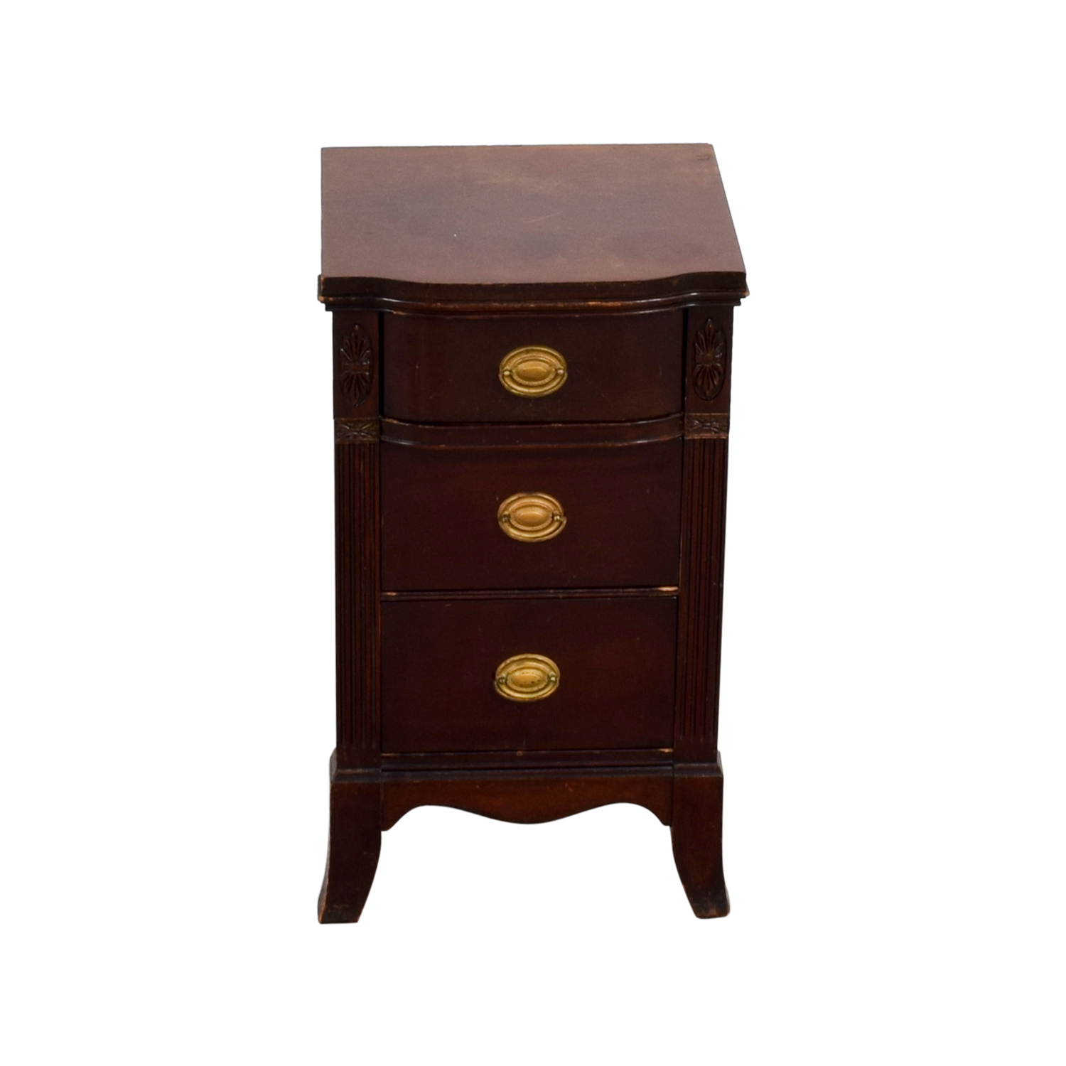 Wood with Gold Accent Nightstand End Tables