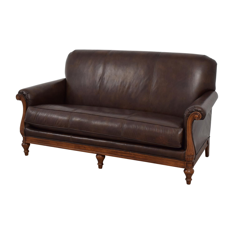 ... Thomasville Thomasville Mid Century Leather Sofa Brown ...