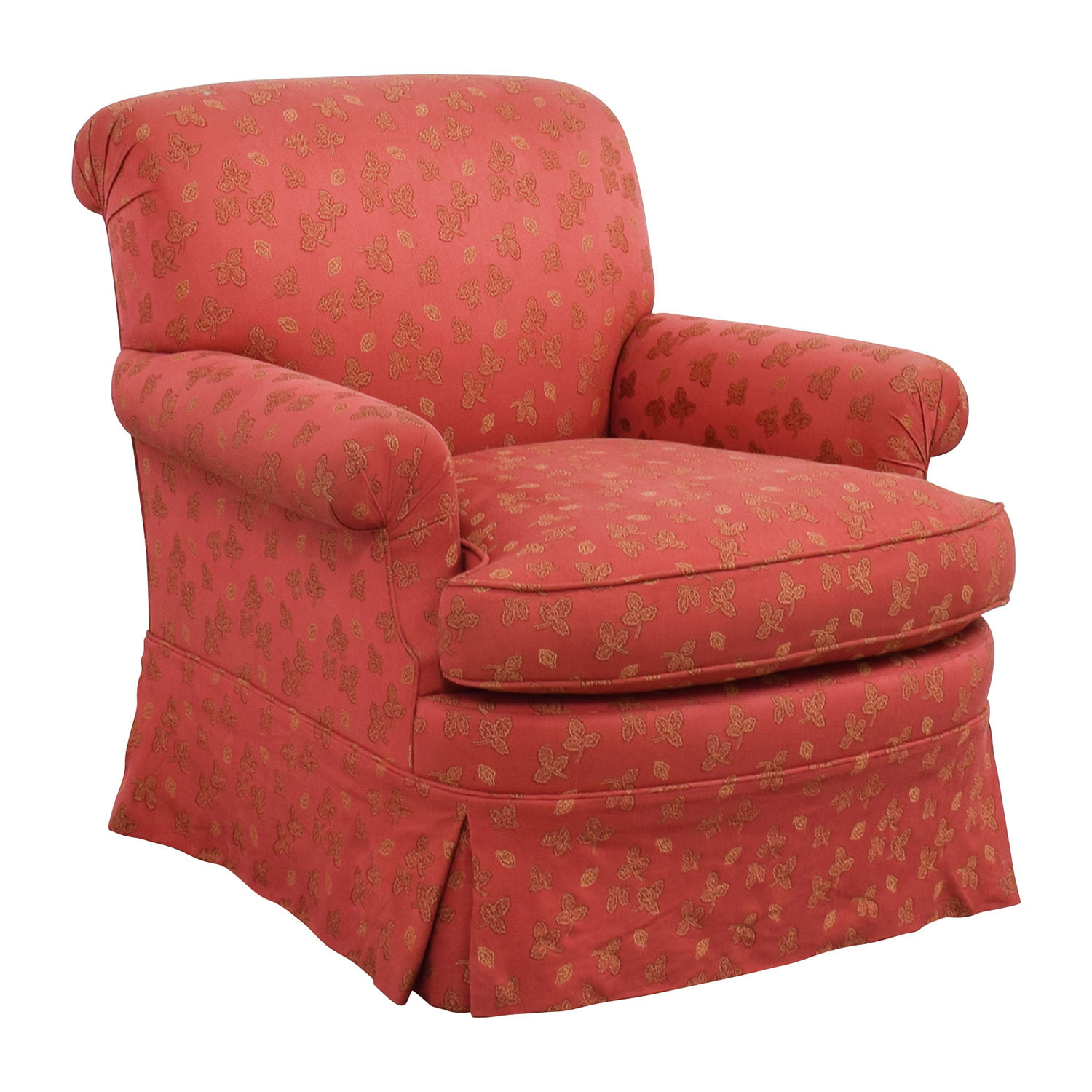 84 off custom red upholstered skirted accent chair chairs for Upholstered accent chairs cheap
