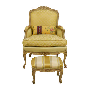 buy Custom Scalamadre Upholstered Louis Style Chair and Foot Stool