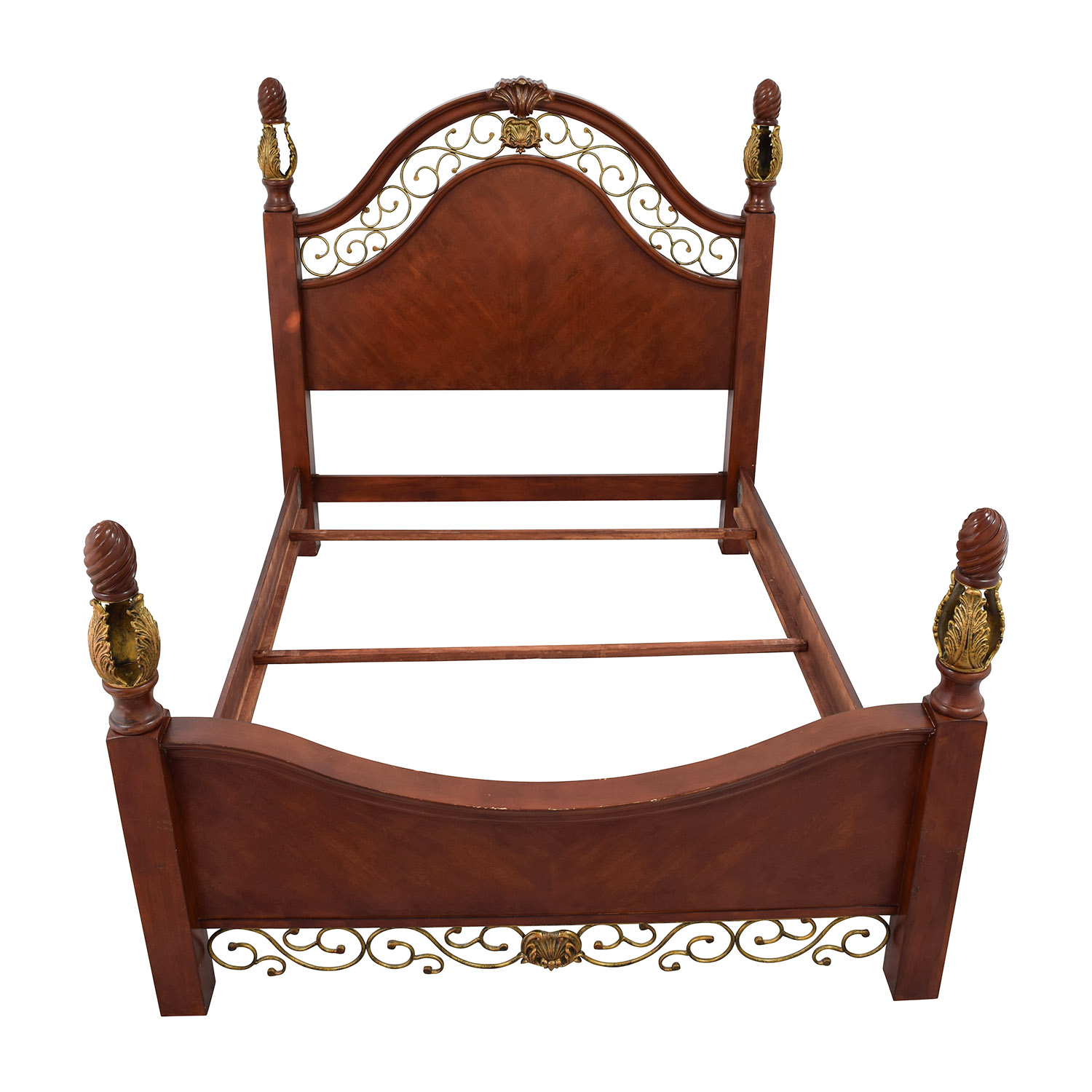 Unique Ornate Wood and Metal Queen Size Bed