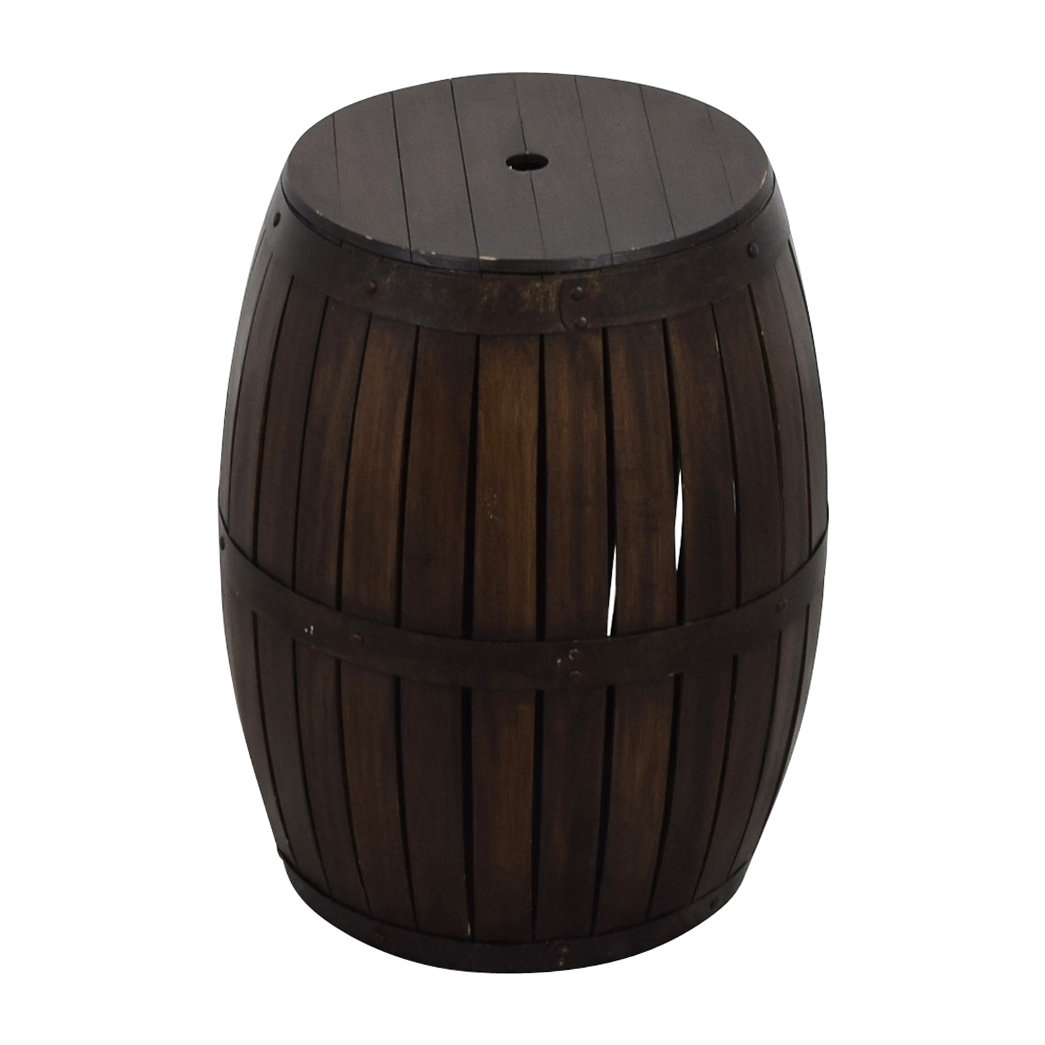 Wood Barrel Side Table