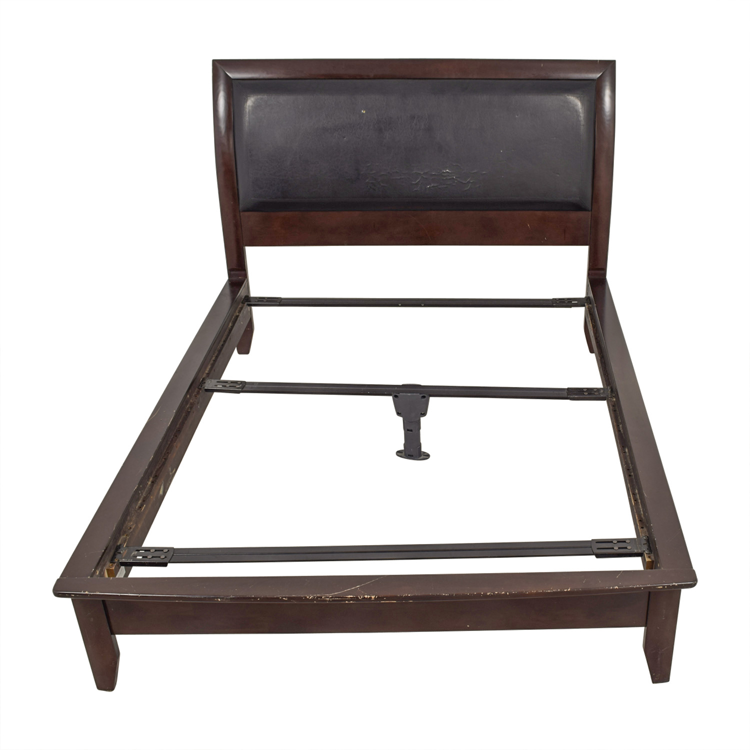 Black Leather and Wood Bed Frame Mahogany