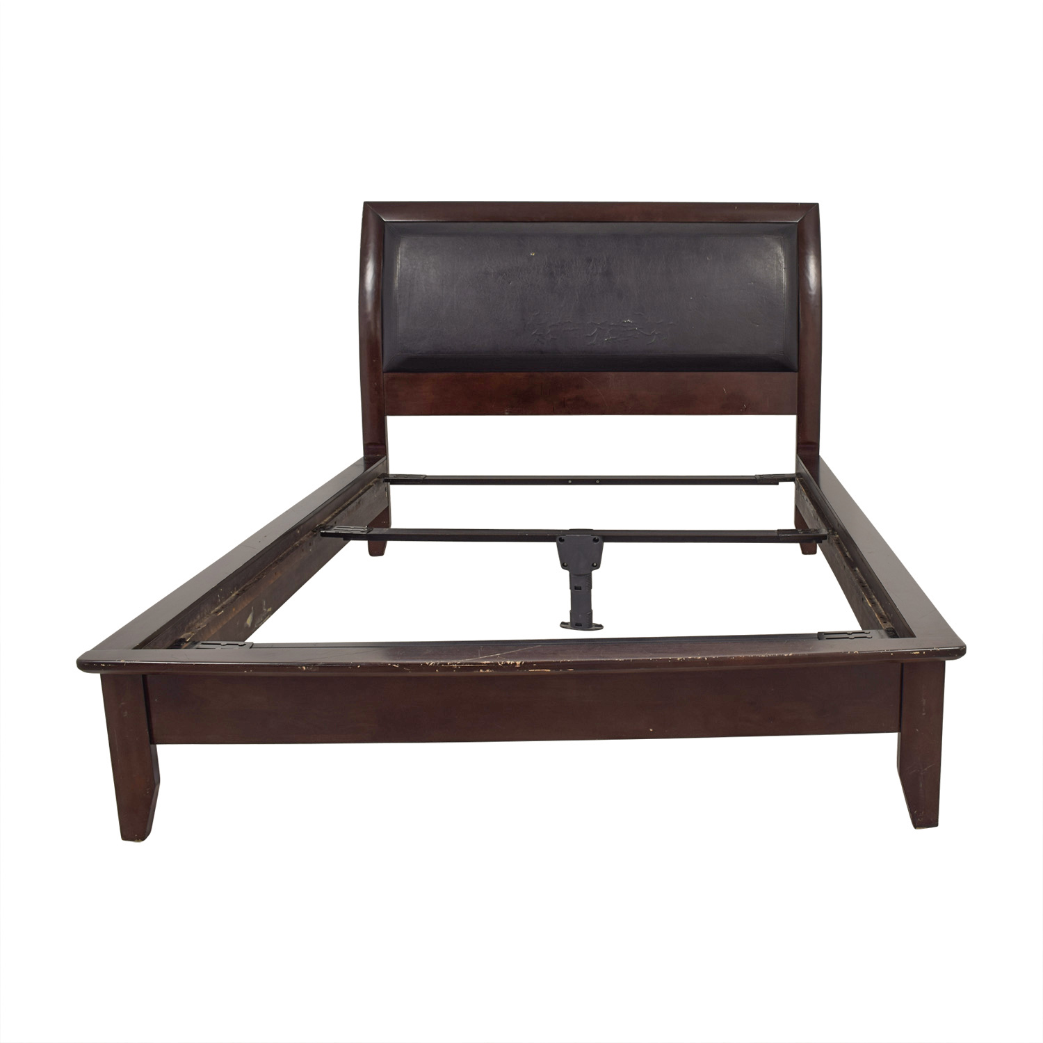 Shop Black Leather And Wood Bed Frame Bed Frames