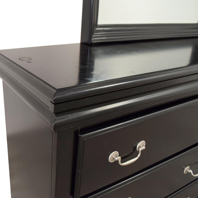 Bobs Furniture Bobs Furniture Black Six-Drawer Dresser with Mirror second hand