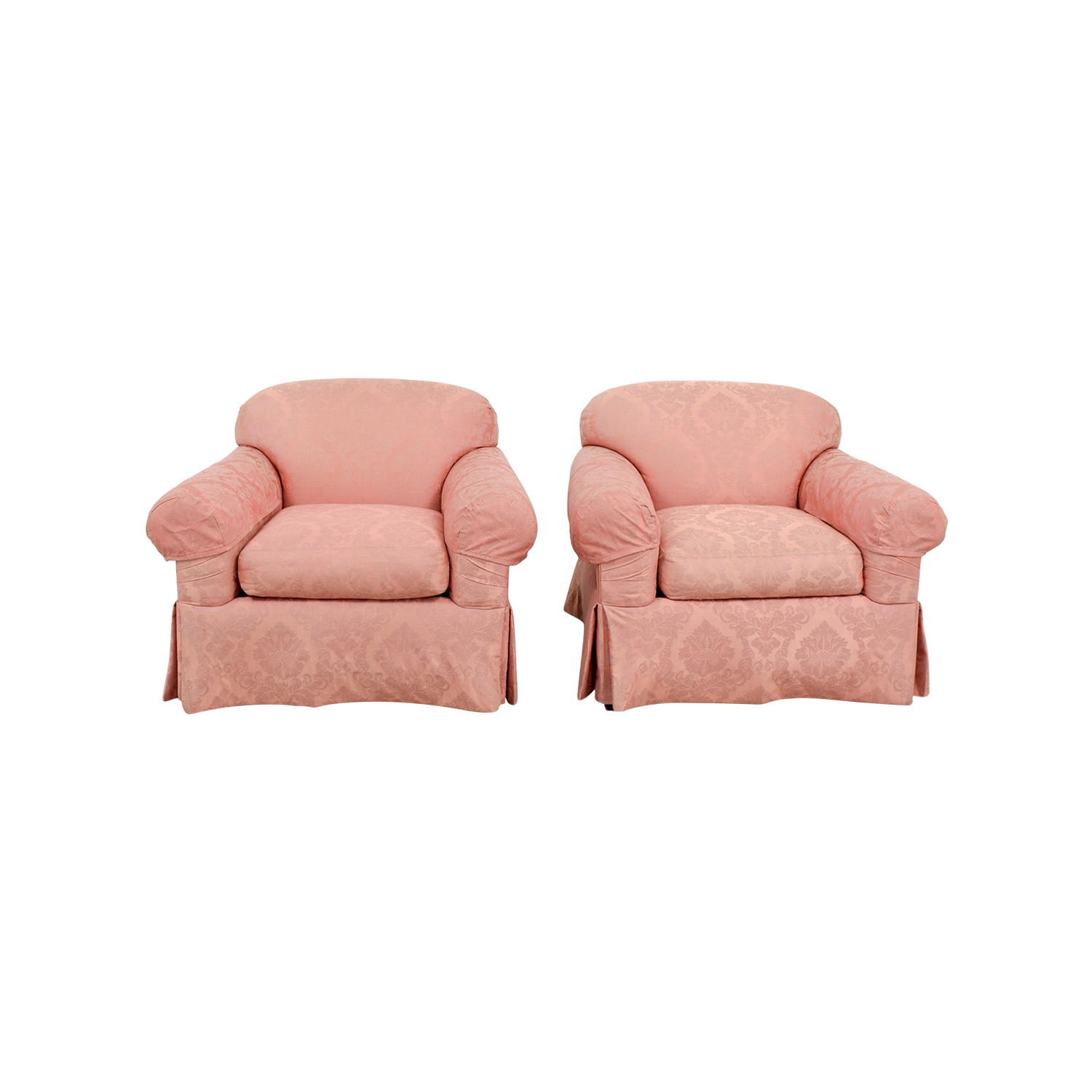 Custom Damask Pink Club Chairs on sale